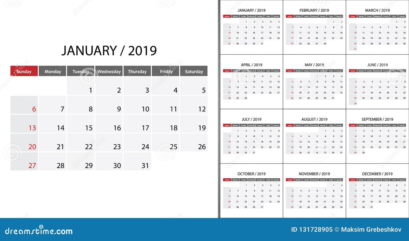 Calendario De Semanas.Calendario Comienzo De 2019 Semanas El Domingo Stock De Ilustracion