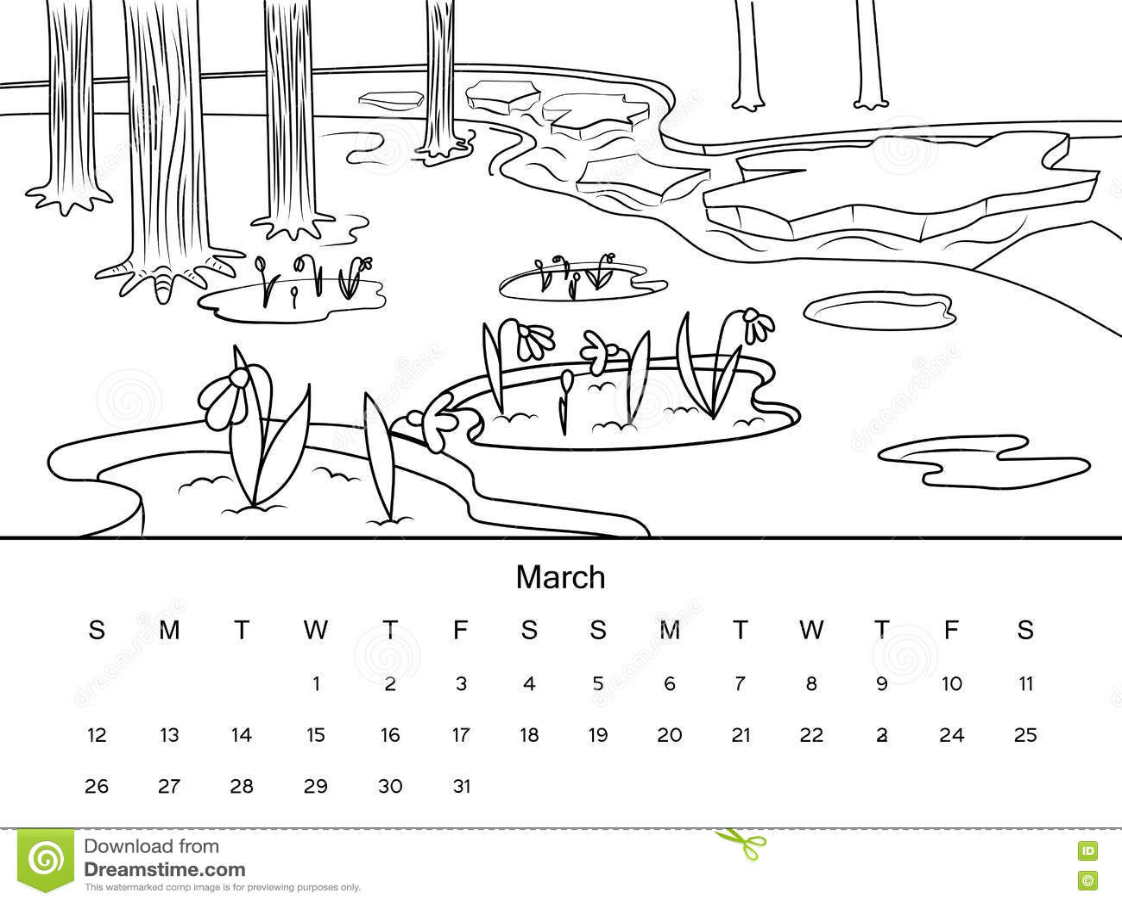Calendario Dibujo Blanco Y Negro.Calendario Con El Ejemplo Del Vector Del Libro De Colorear