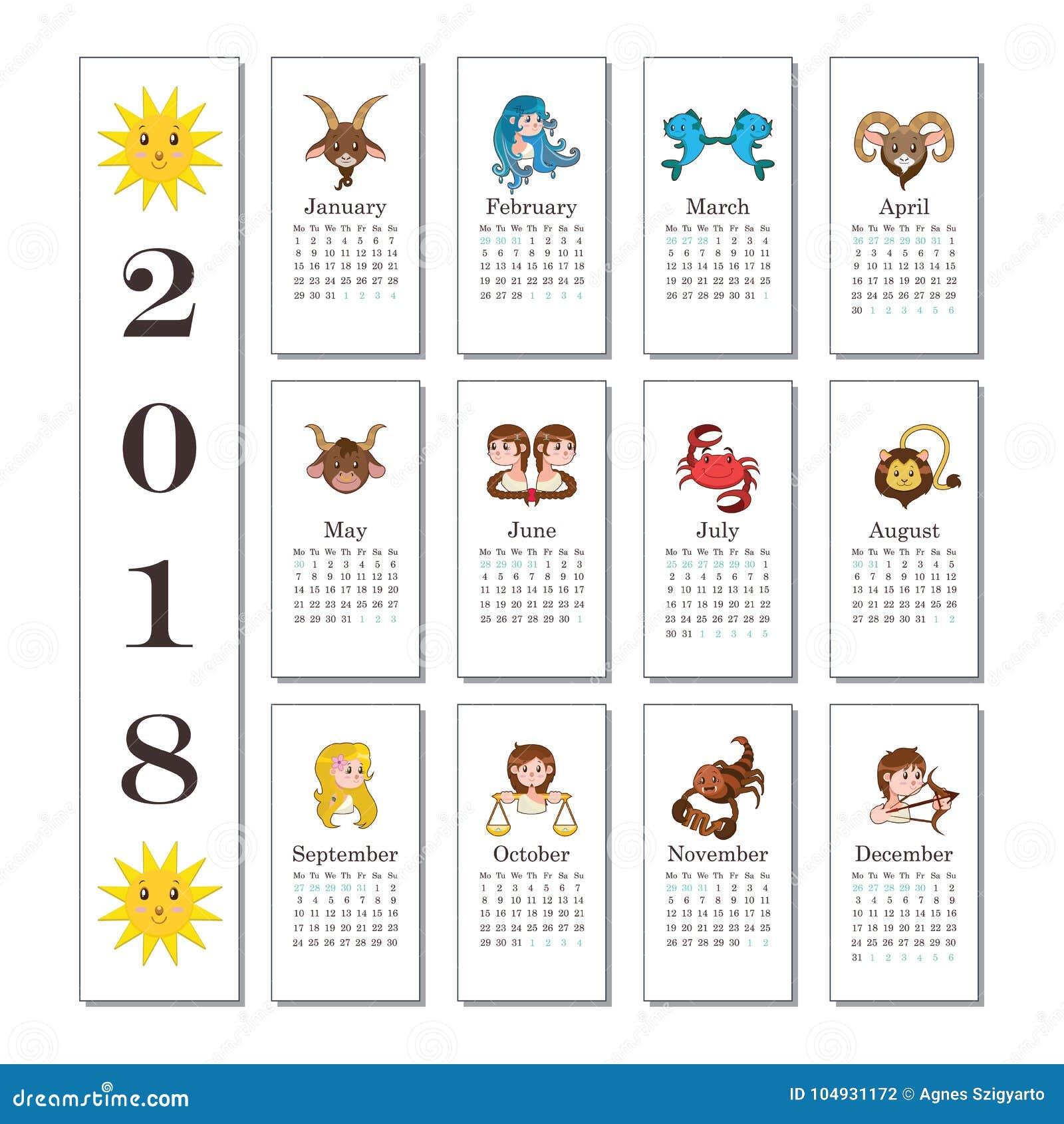 Calendario Segni.Calendario 2018 Con I Segni Del Fumetto Dello Zodiaco