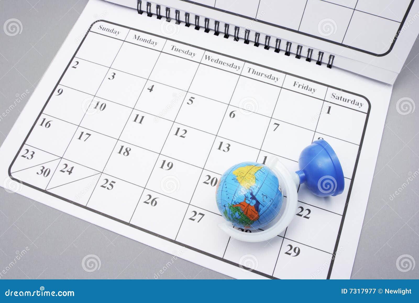 Calendario con il globo