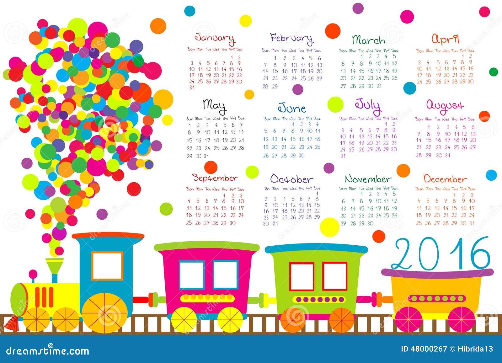 Calendario 2016 con il treno del fumetto per i bambini