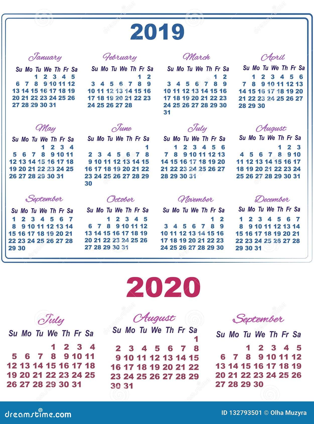 Calendario De Agosto 2020.Calendario 2019 Con Julio Agosto Y Septiembre De 2020 Ilustracion