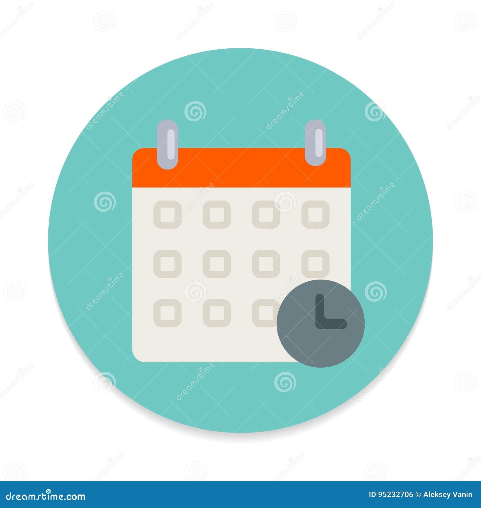 Calendario con l icona piana dell orologio Bottone variopinto rotondo, programma, segno circolare di vettore della data di evento