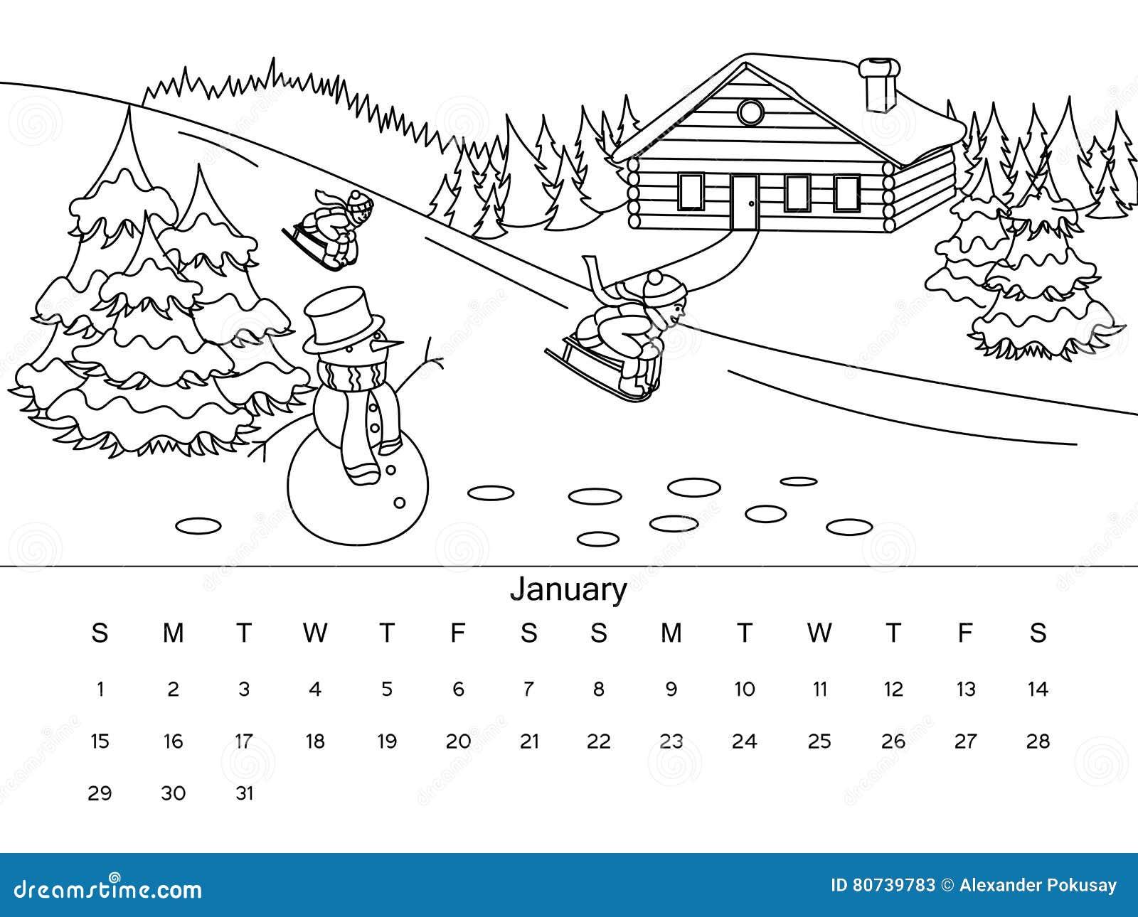 Calendario 2020 Da Colorare Per Bambini.Calendario Con L Illustrazione Di Vettore Del Libro Da