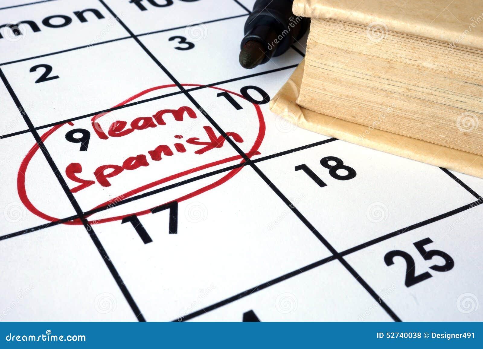 Calendario con l inizio per imparare lo Spagnolo