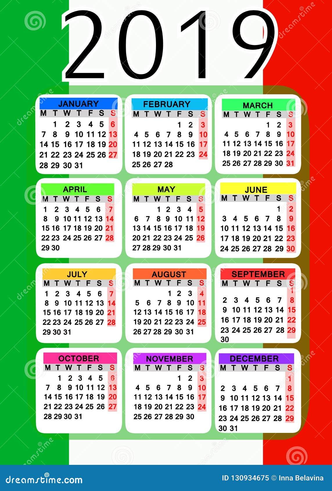 Italia Calendario.Calendario 2019 Con La Bandiera Dell Italia Illustrazione Di