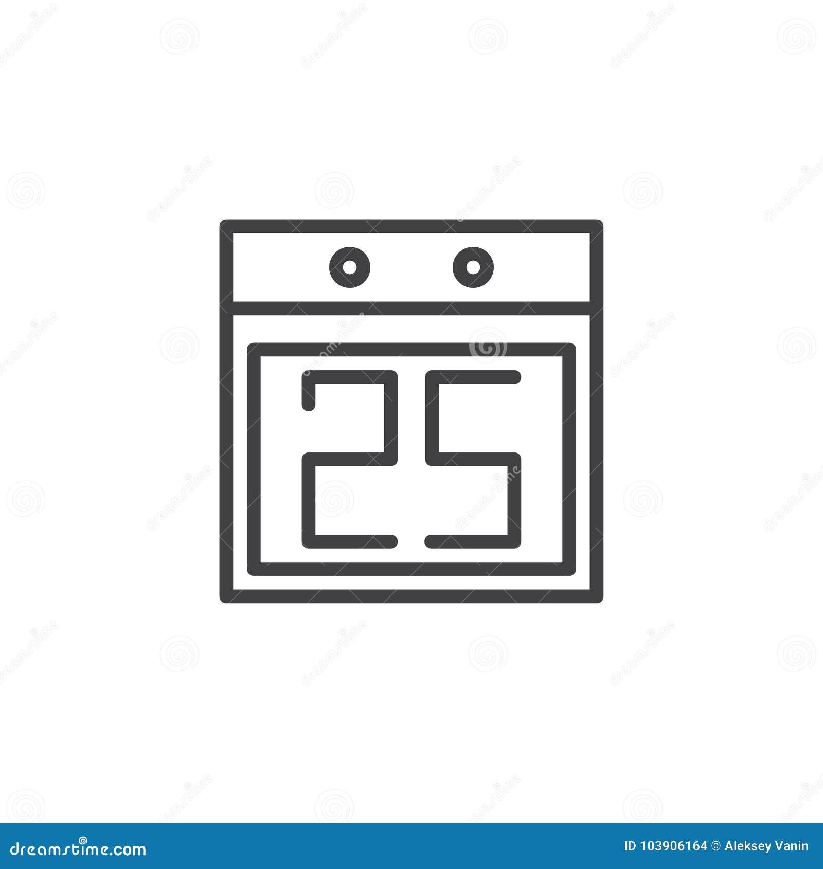Calendario Con Numero Giorni.Calendario Con La Linea Icona Di Numero Data Di Giorno Di