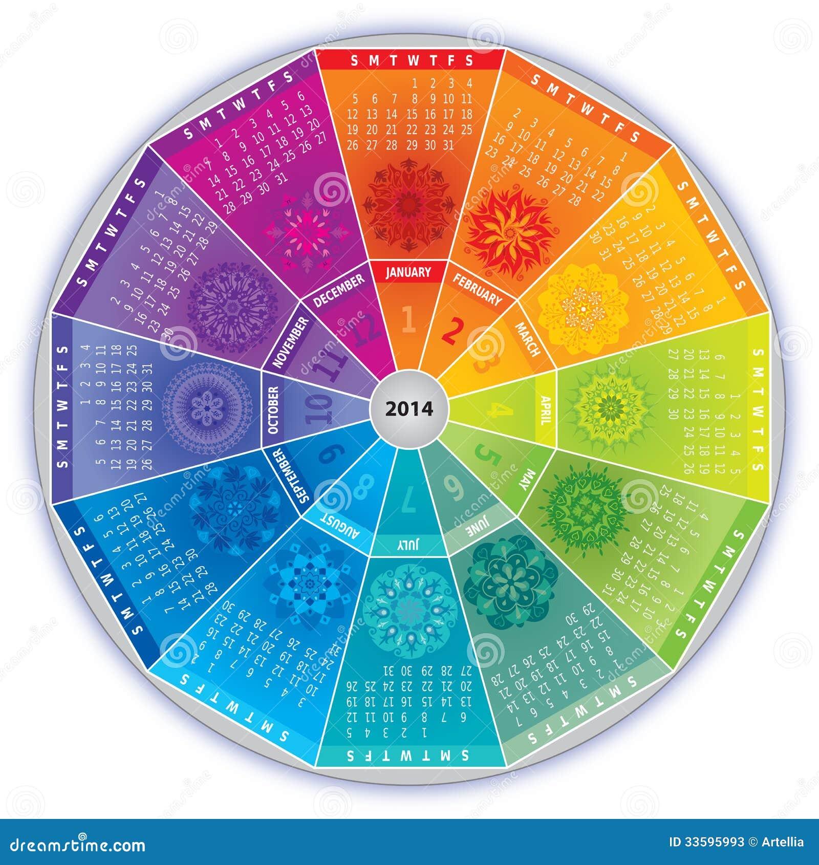 Calendario 2014 con las mandalas en colores del arco iris - Mandalas en colores ...