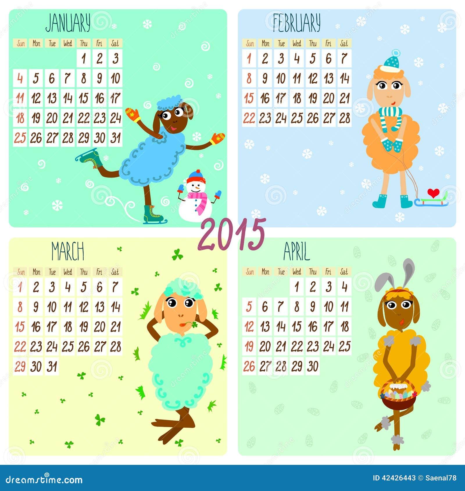 Calendario 2015 con las ovejas divertidas Invierno, primavera