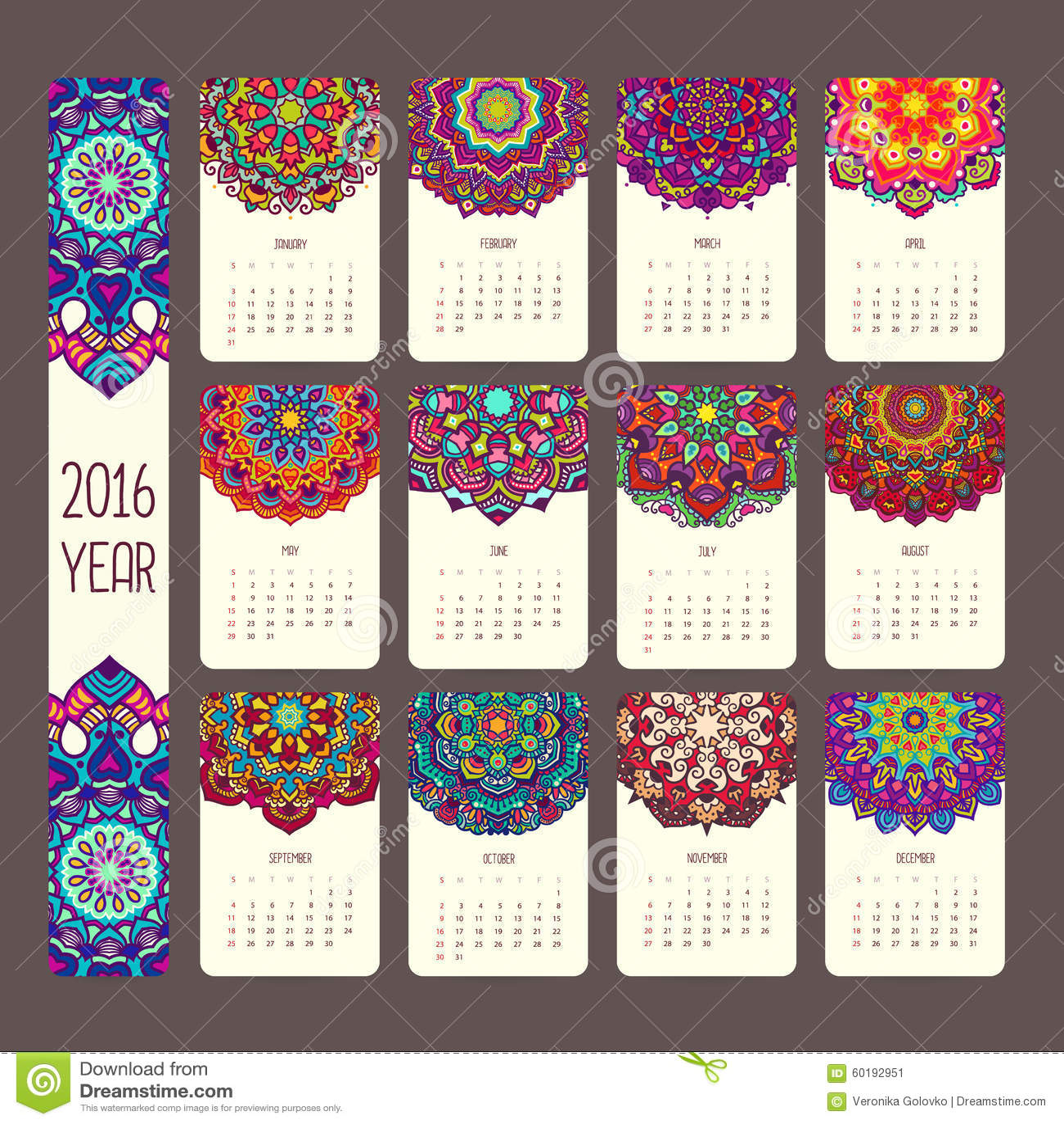 Calendario 2016 con le mandale