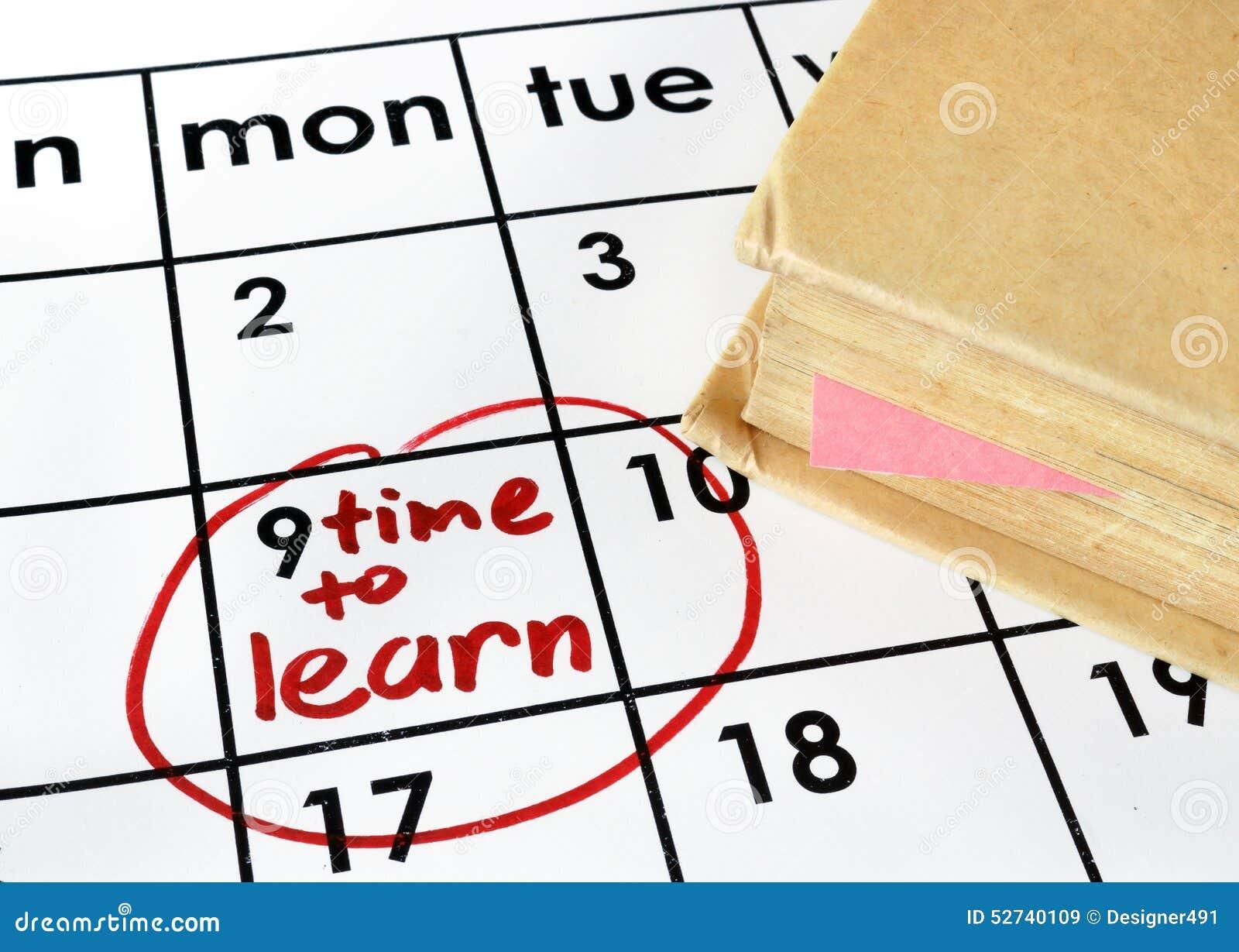Calendario con tempo di imparare e prenotare