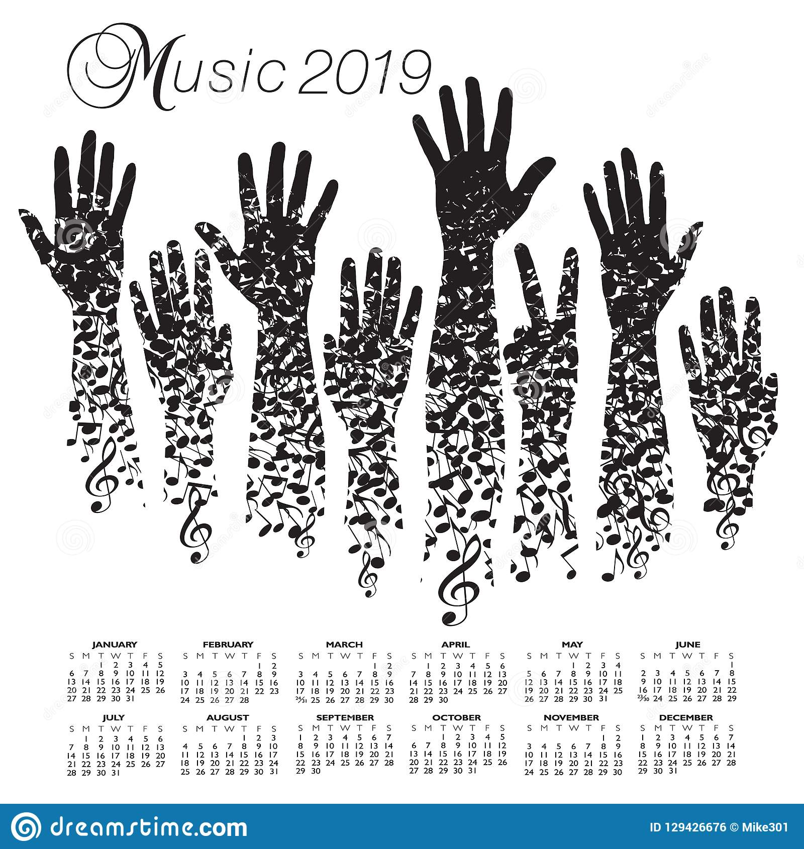 Calendario Con Note.Calendario 2019 Con Un Uomo Fatto Delle Note Musicali