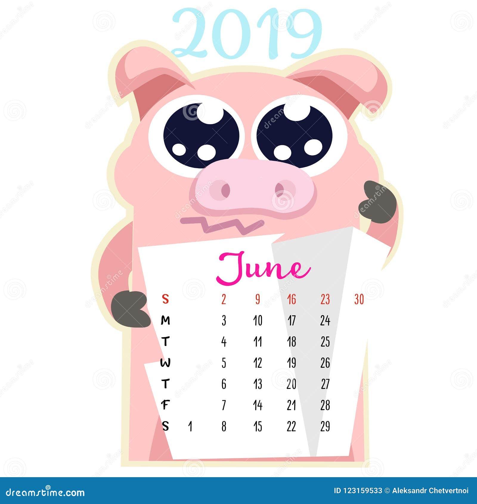 Calendario Creativo Mensual 2019 Con El Cerdo Lindo Concepto ...