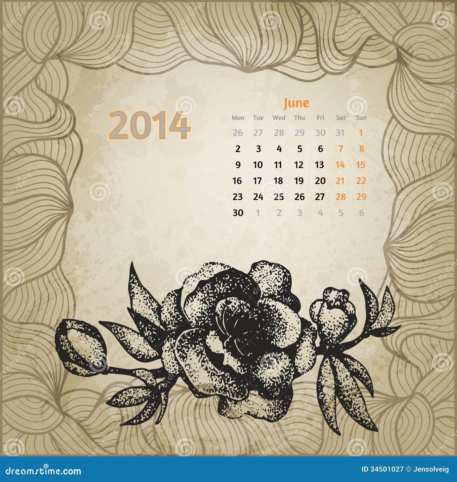 Calendario Artistico.Calendario D Annata Artistico Con La Penna Disegnata A Mano