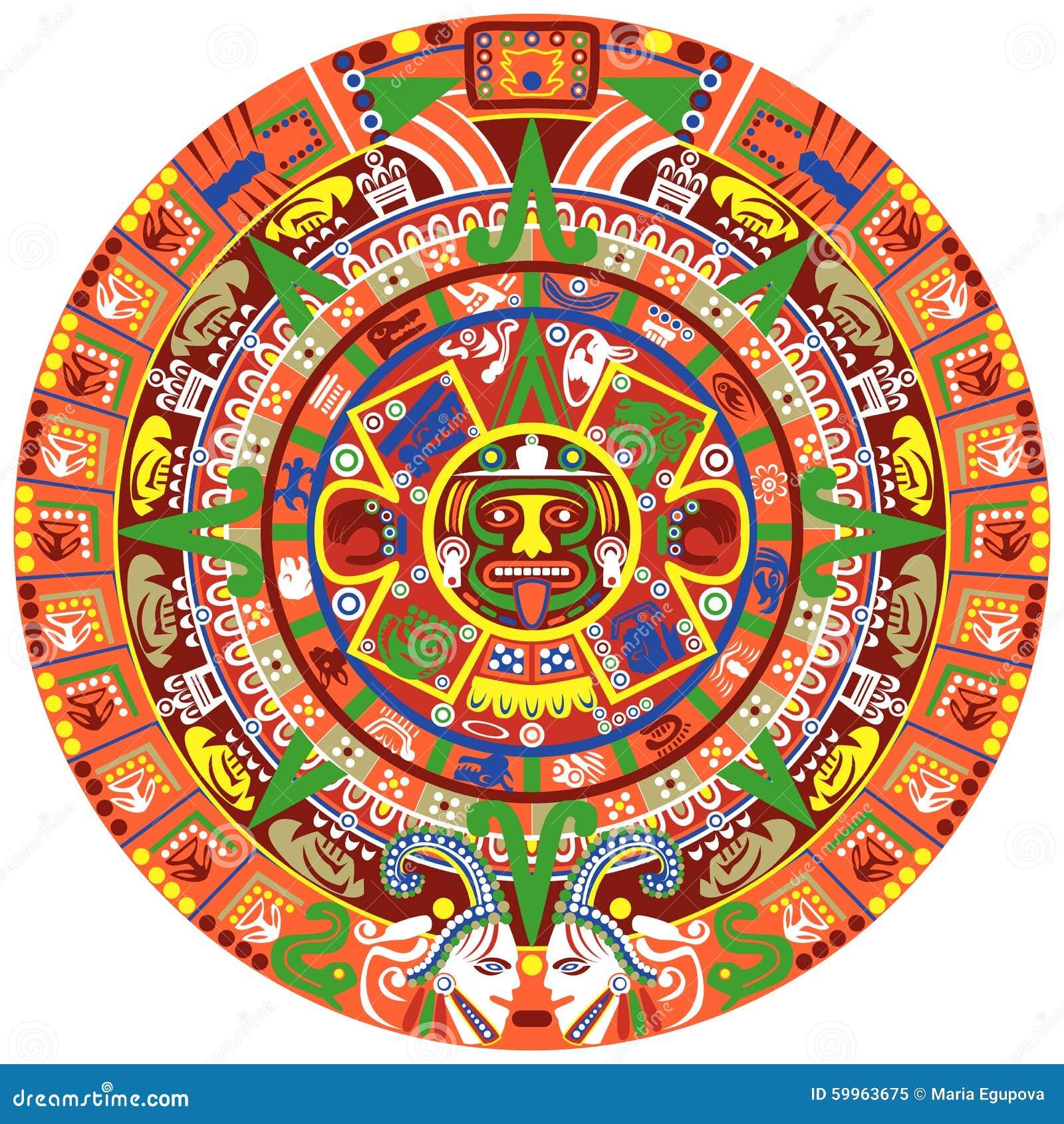 Calendario Azteca Vectores.Calendario De Actec Ilustracion Del Vector Ilustracion De