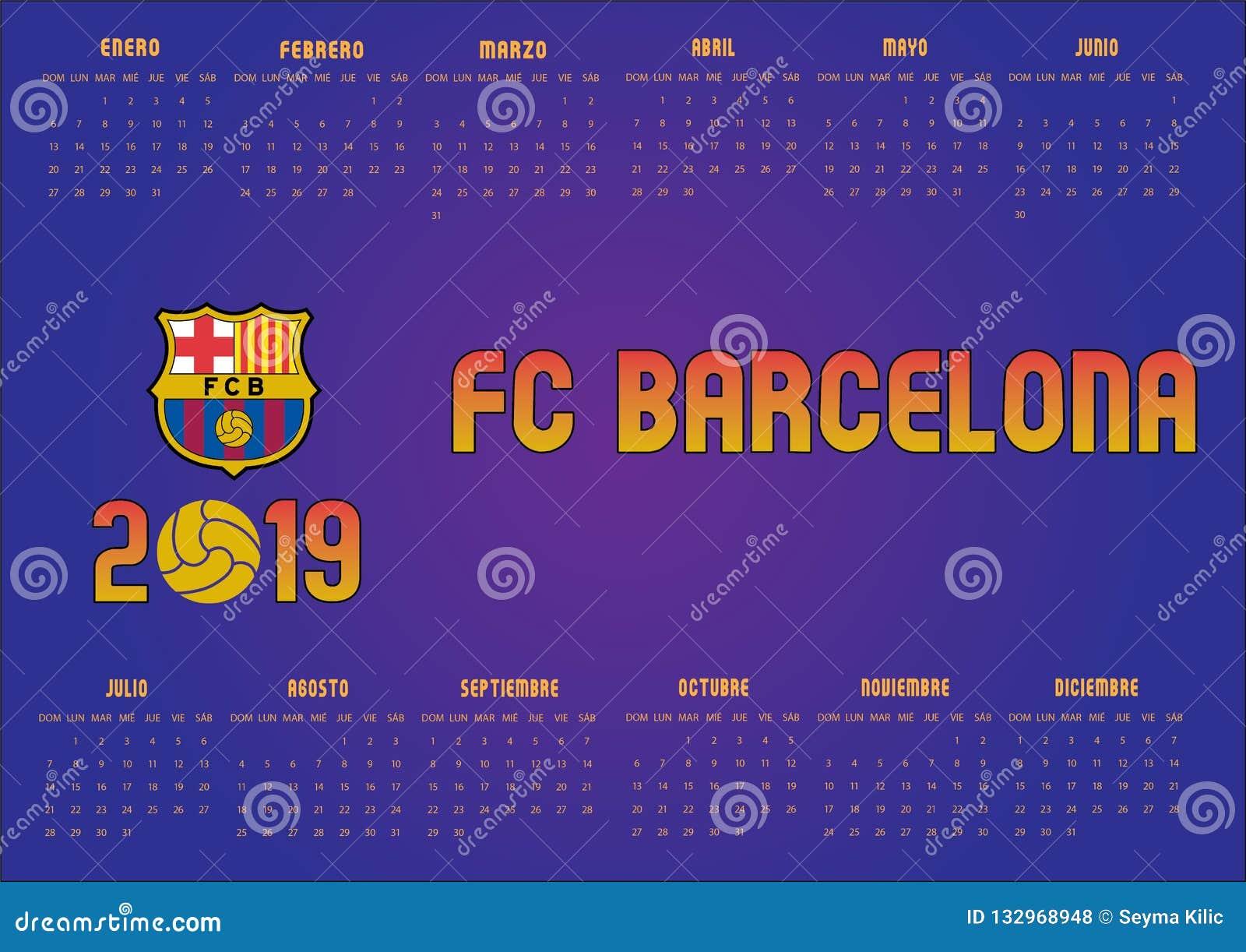 Calendario Del Barcelona.Calendario 2019 De Barcelona Fc En Espanol Foto De Archivo Editorial