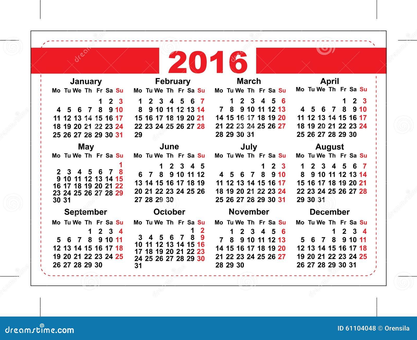 Calendario De 2016 Bolsillos Rejilla De La Plantilla Dias ...