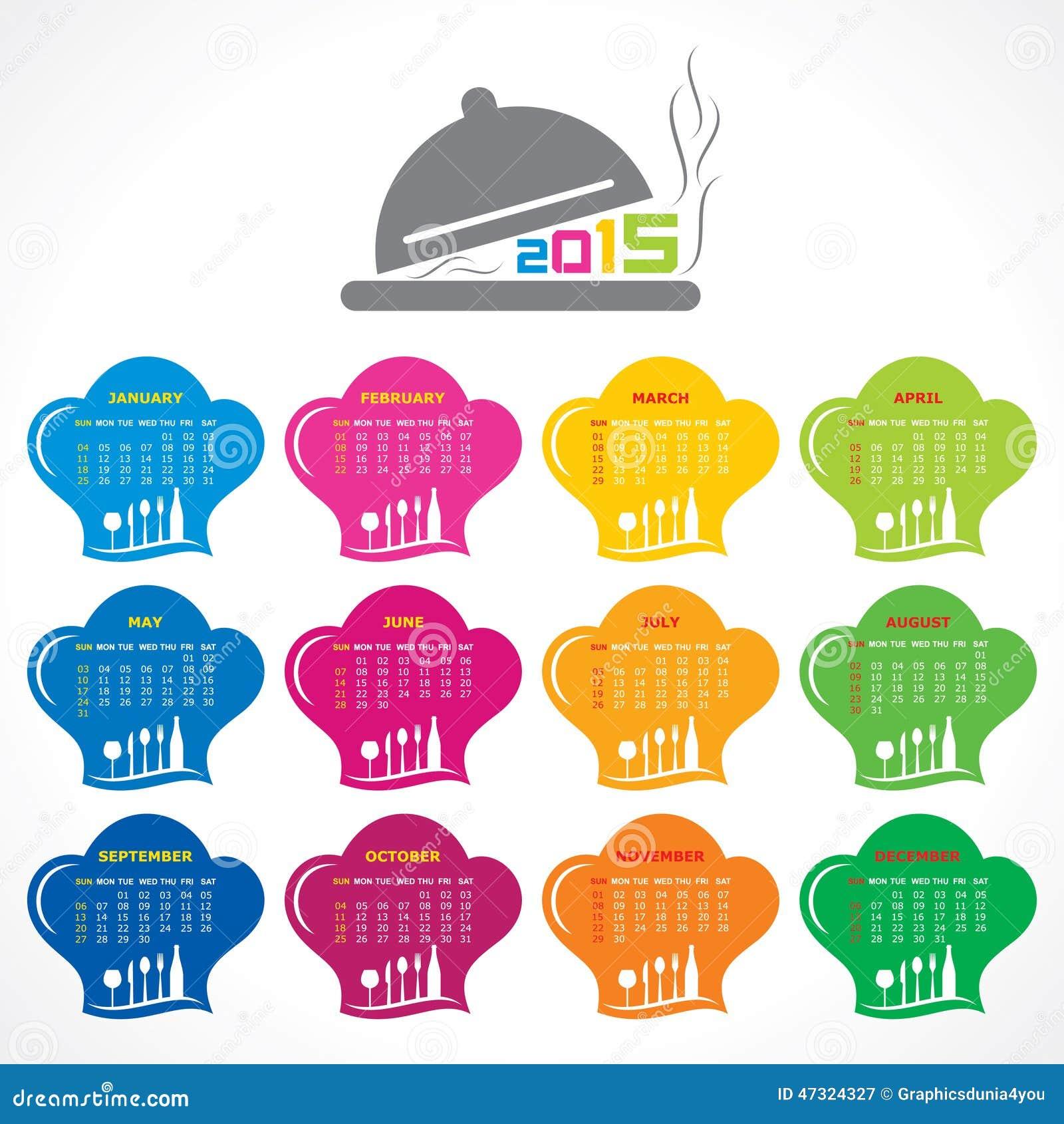 Calendario De 2015 Con Diseño De Concepto Del Restaurante ...