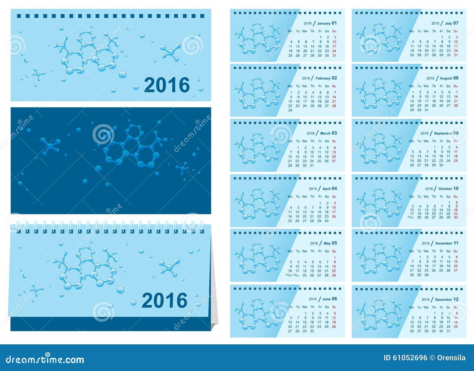 Calendario De Escritorio Del Cambio De La Plantilla 2016 Calendario ...