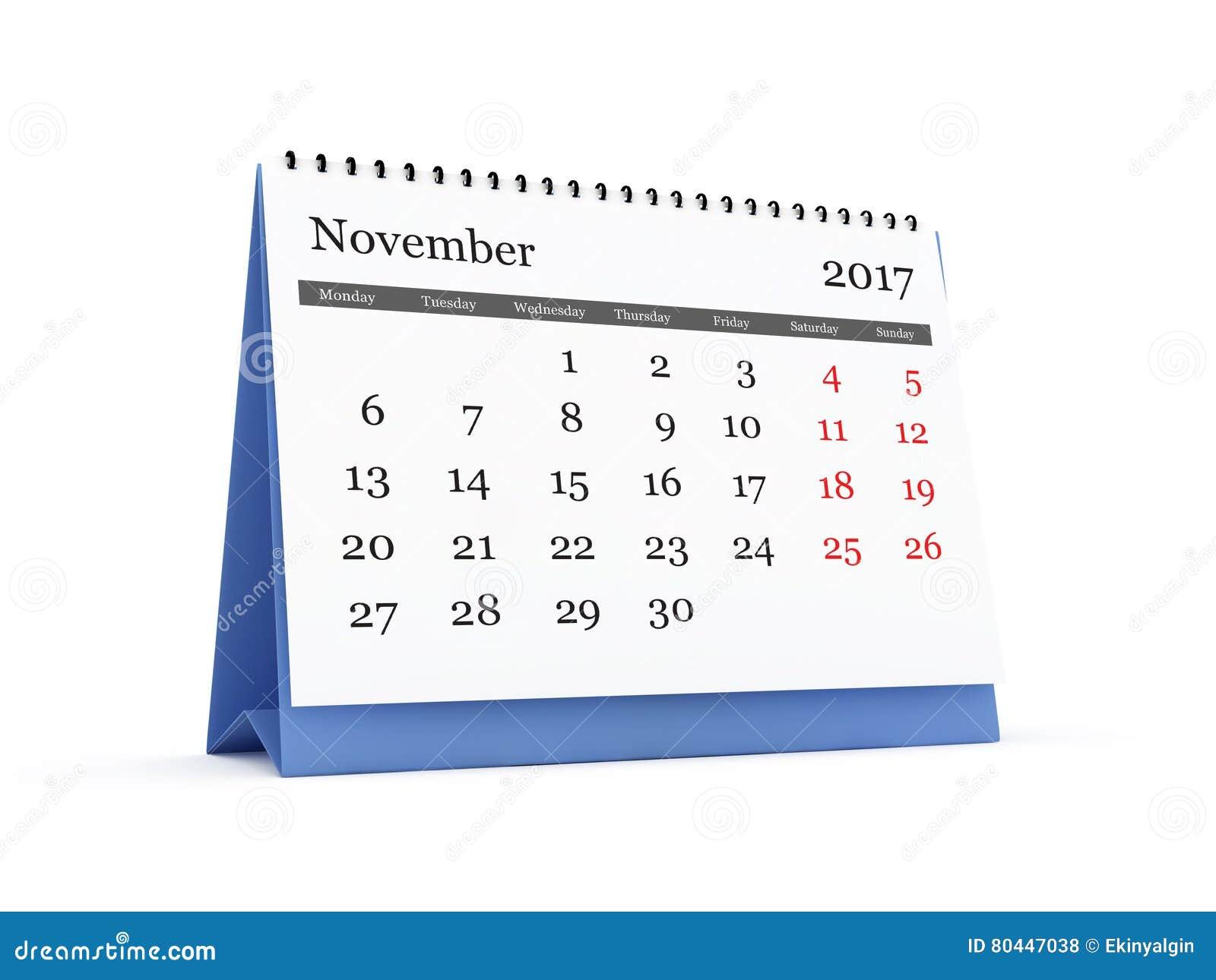 Calendario de escritorio el 2017 de noviembre stock de ilustraci n imagen 80447038 - Mes noviembre 2017 ...