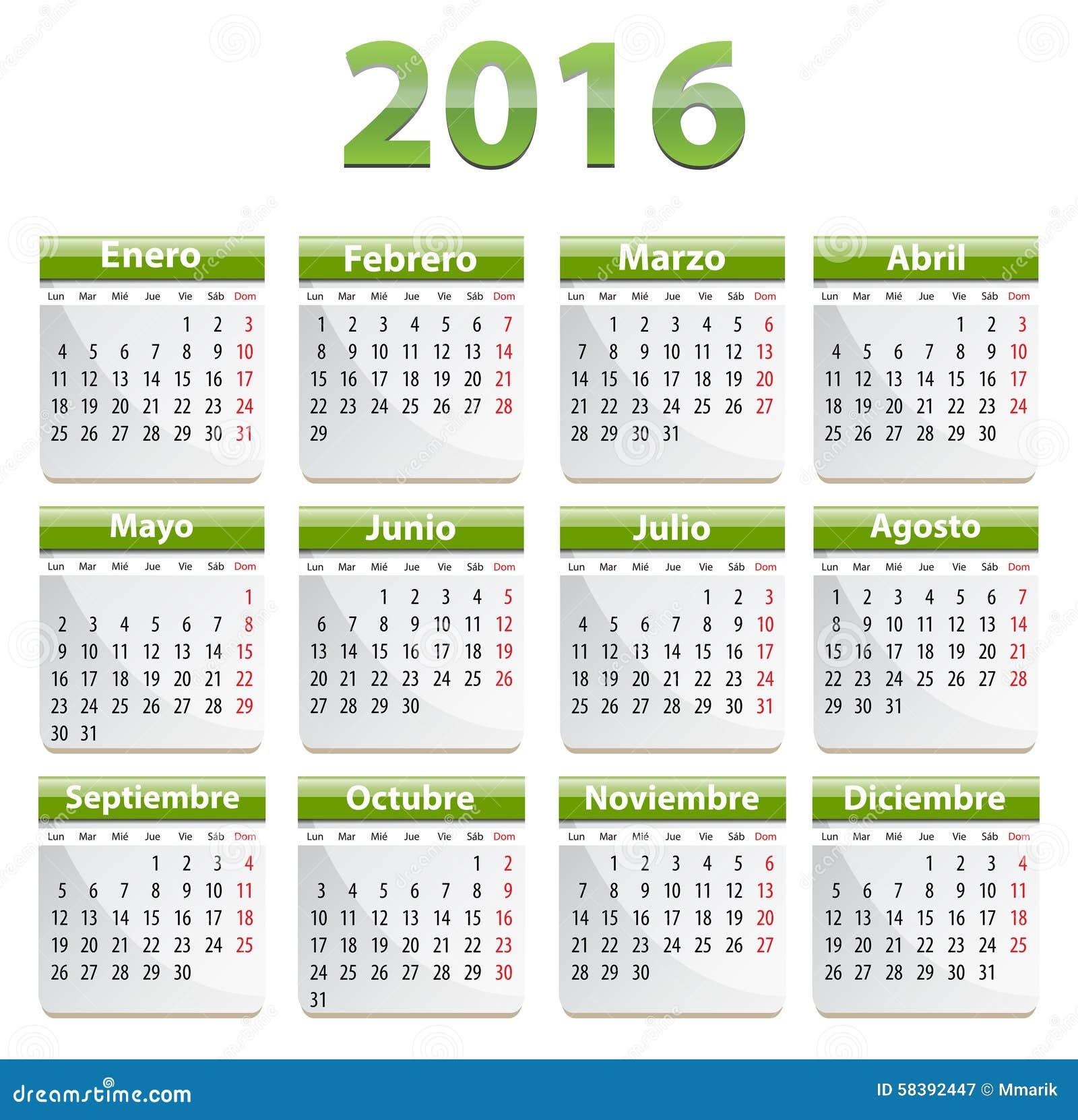 Calendario De 2016 Españoles Ilustración del Vector ...