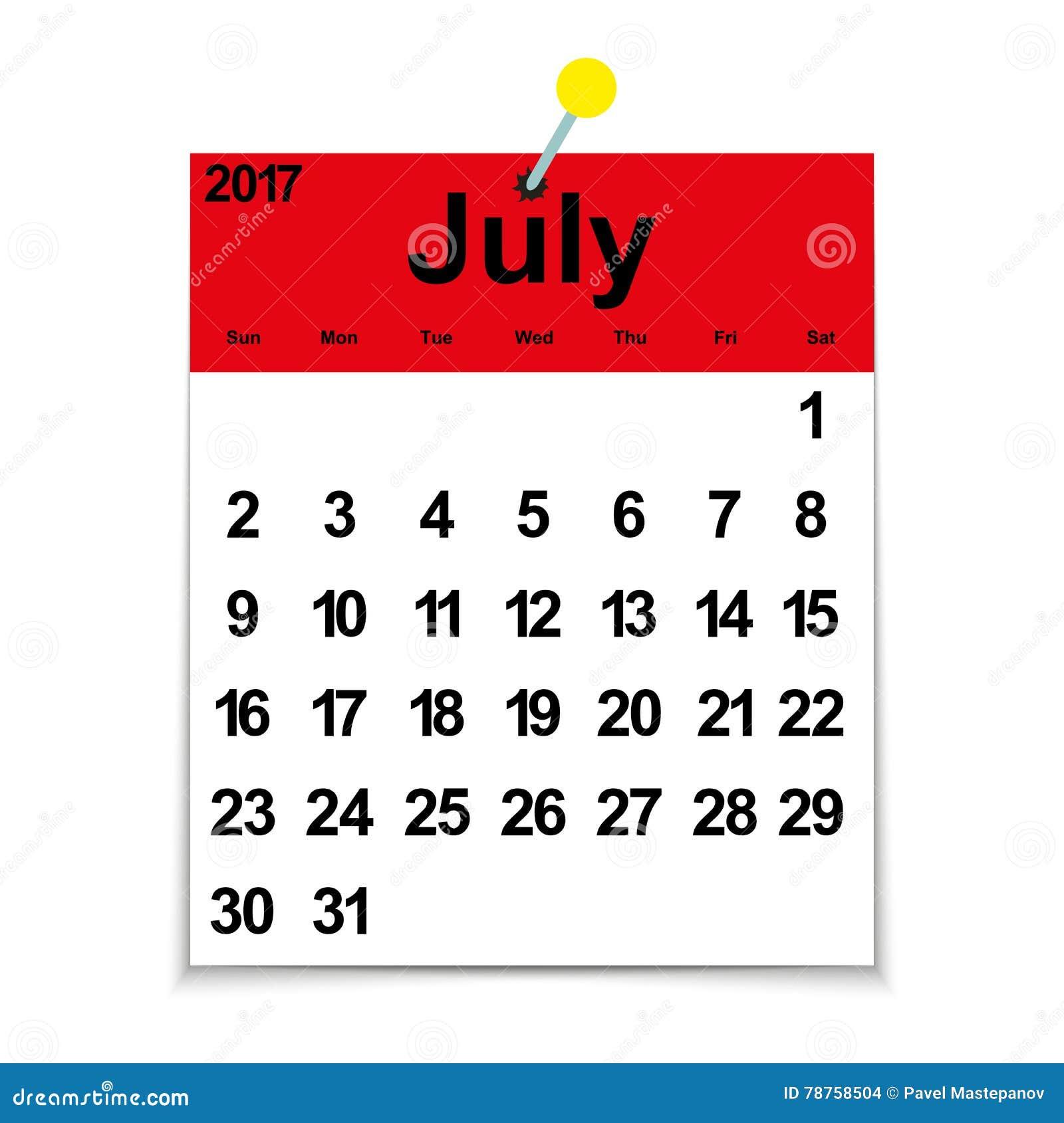 Mes De Julio Calendario.Calendario 2017 De La Hoja Con El Mes De Julio Ilustracion