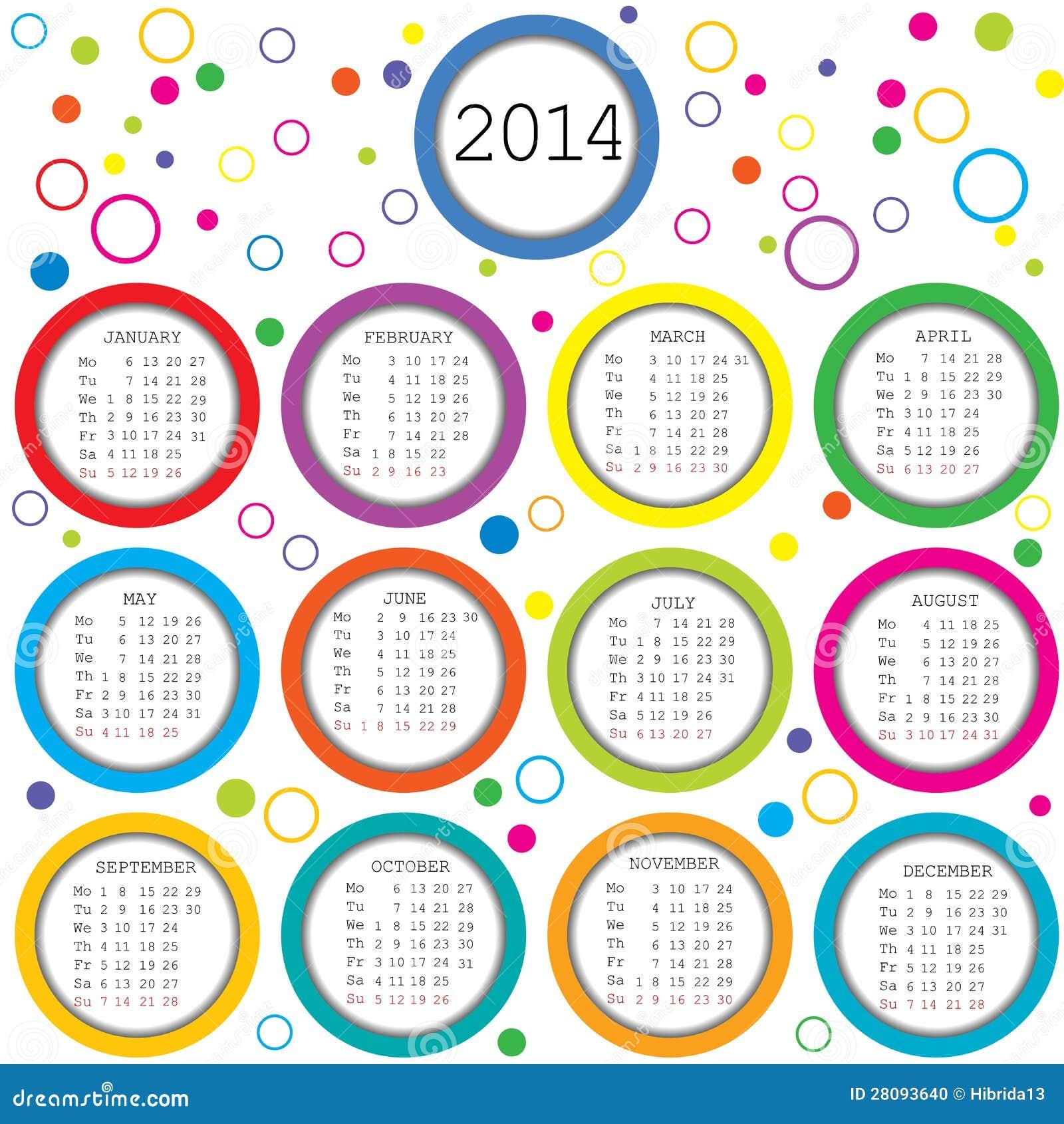 Círculos coloreados y calendario de los puntos 2014 para los niños.