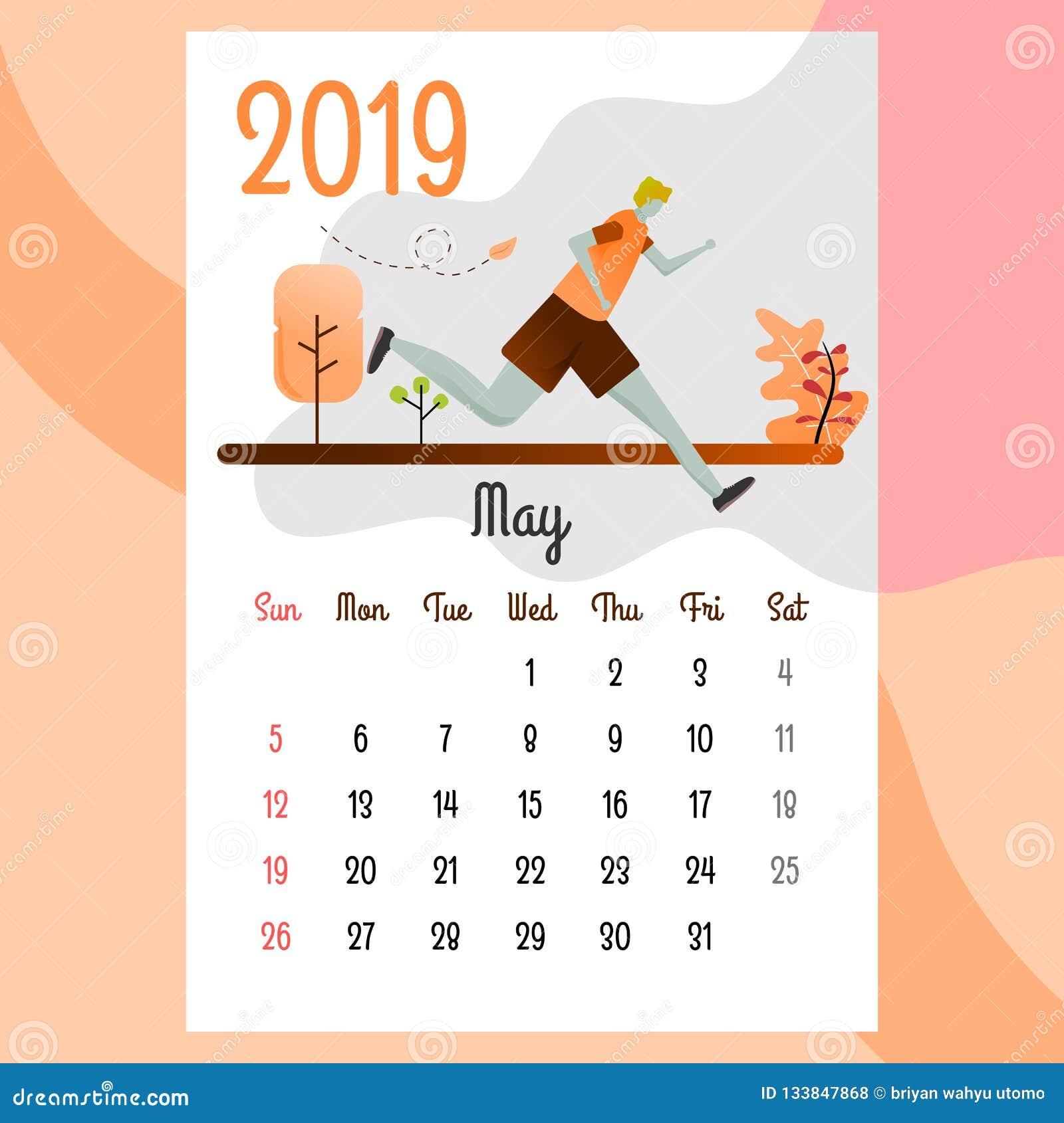 Calendario 2019 Calendario de mayo Vector del calendario