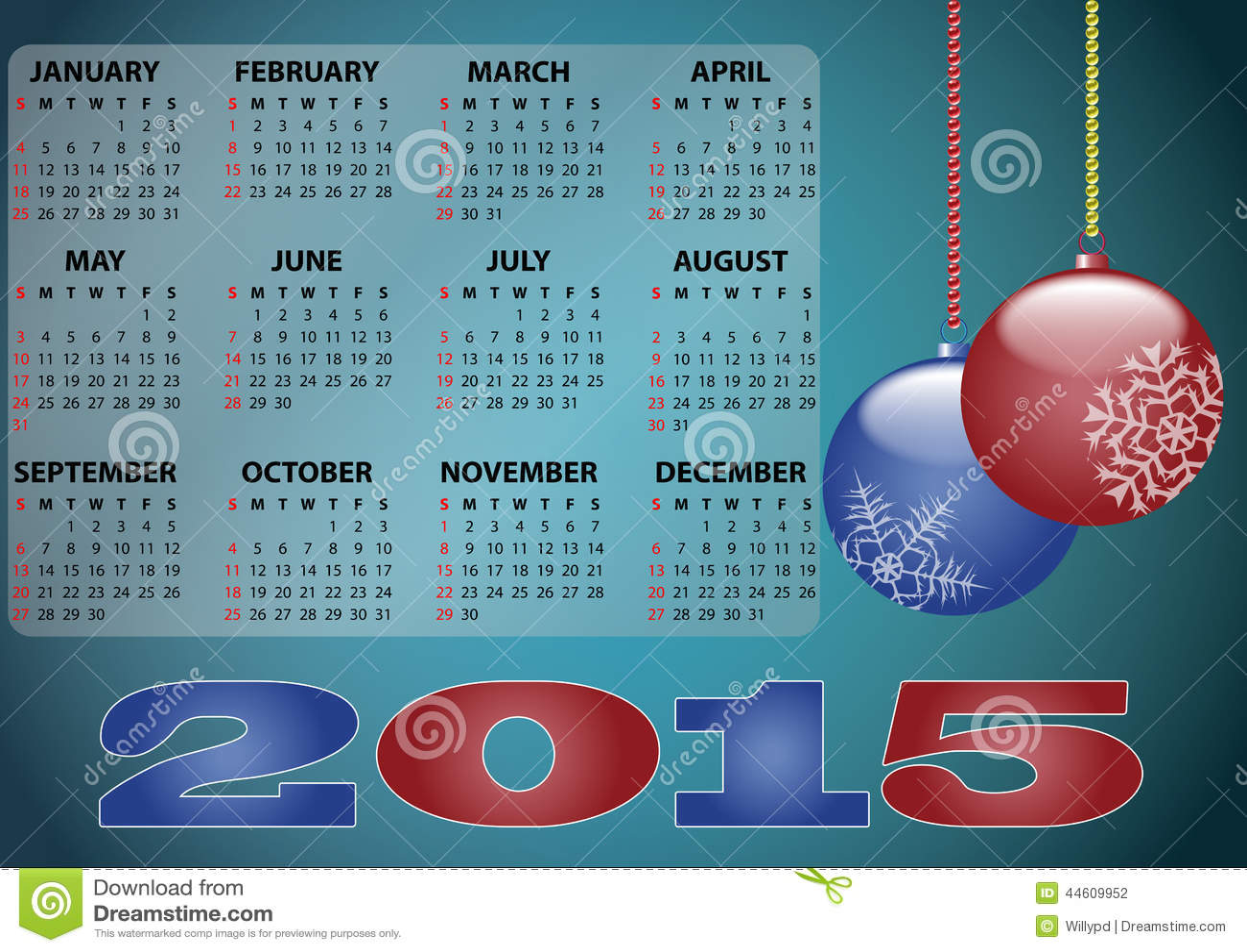 Calendario 2015 de Navidad ilustracin del vector Ilustracin de
