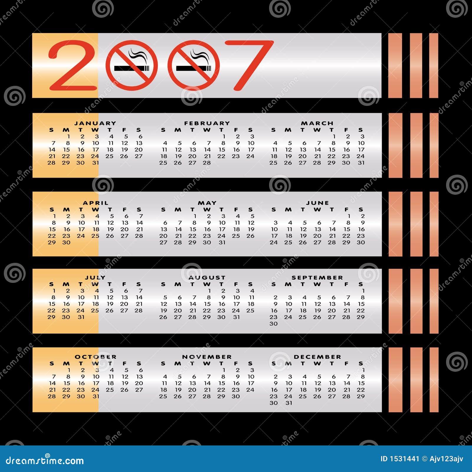 Calendario de no fumadores de la muestra 2007