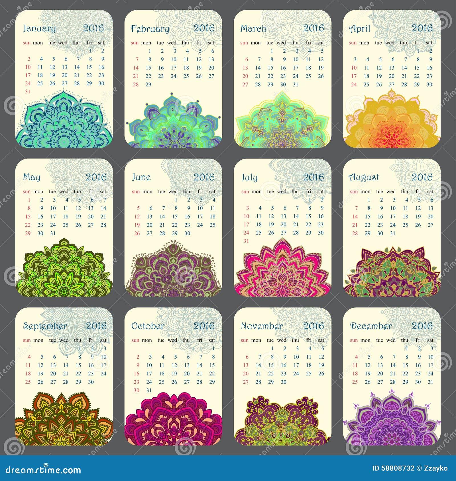 Calendario 2016 decorato con la mandala circolare del fiore