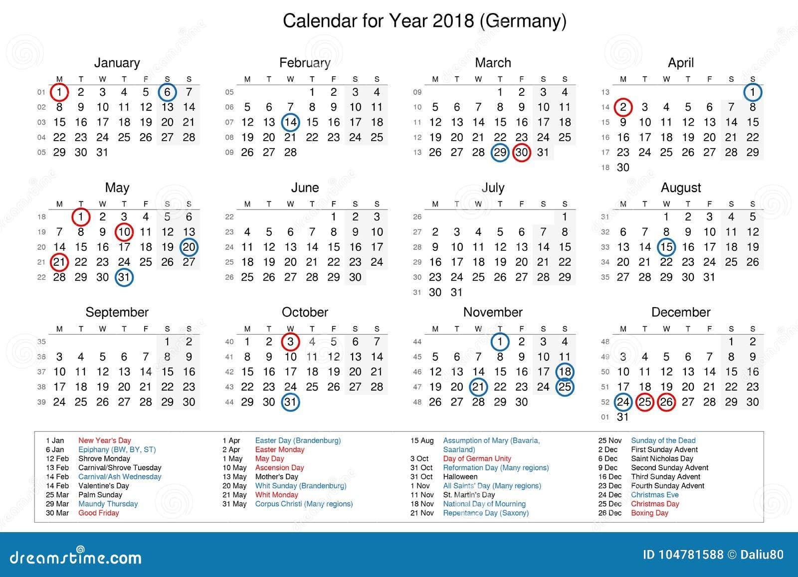 calendario del año 2018 con días festivos y festivos para stock de