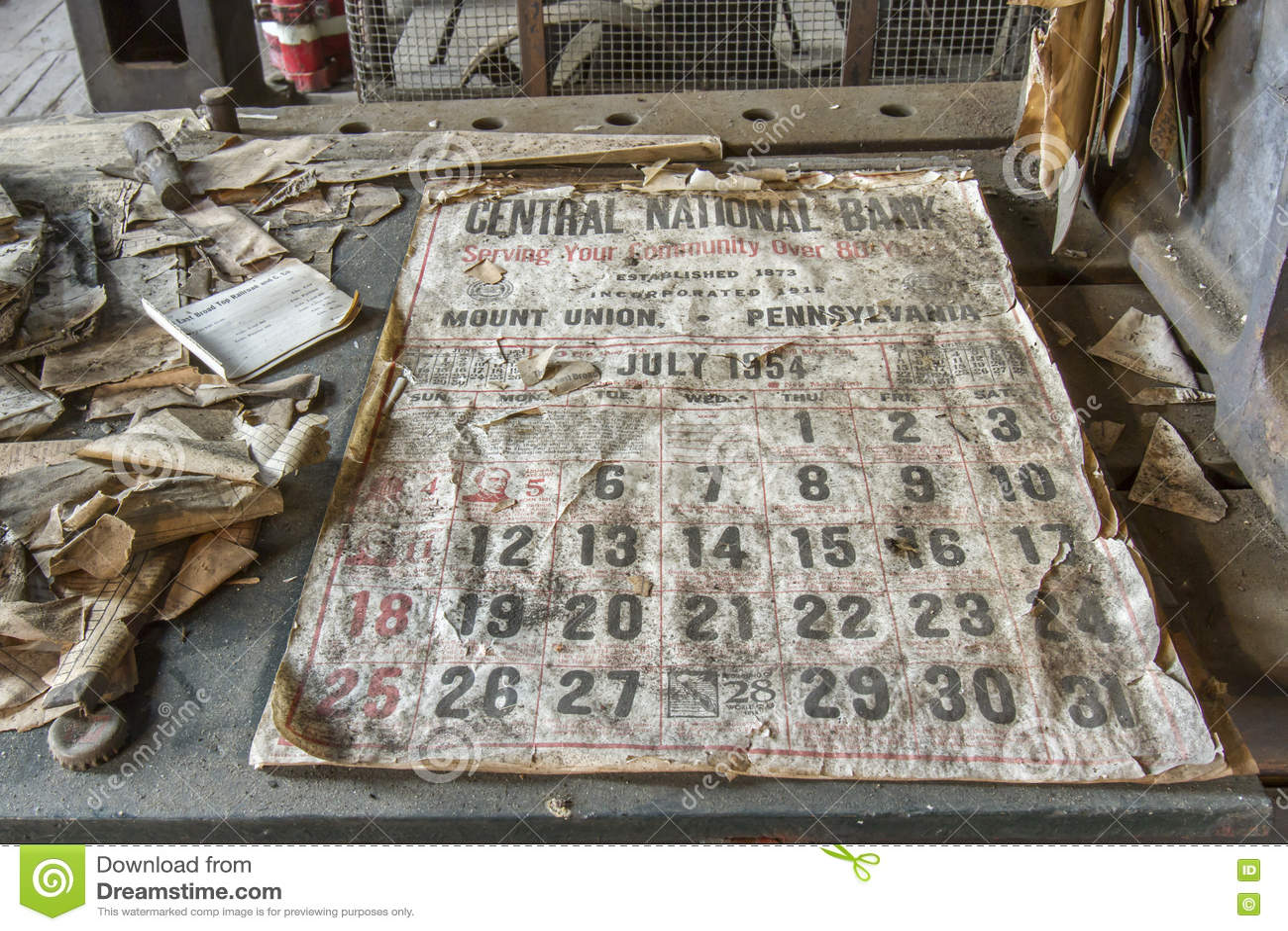Calendario 1950.Calendario Del Banco De Los Anos 50 Fotografia Editorial