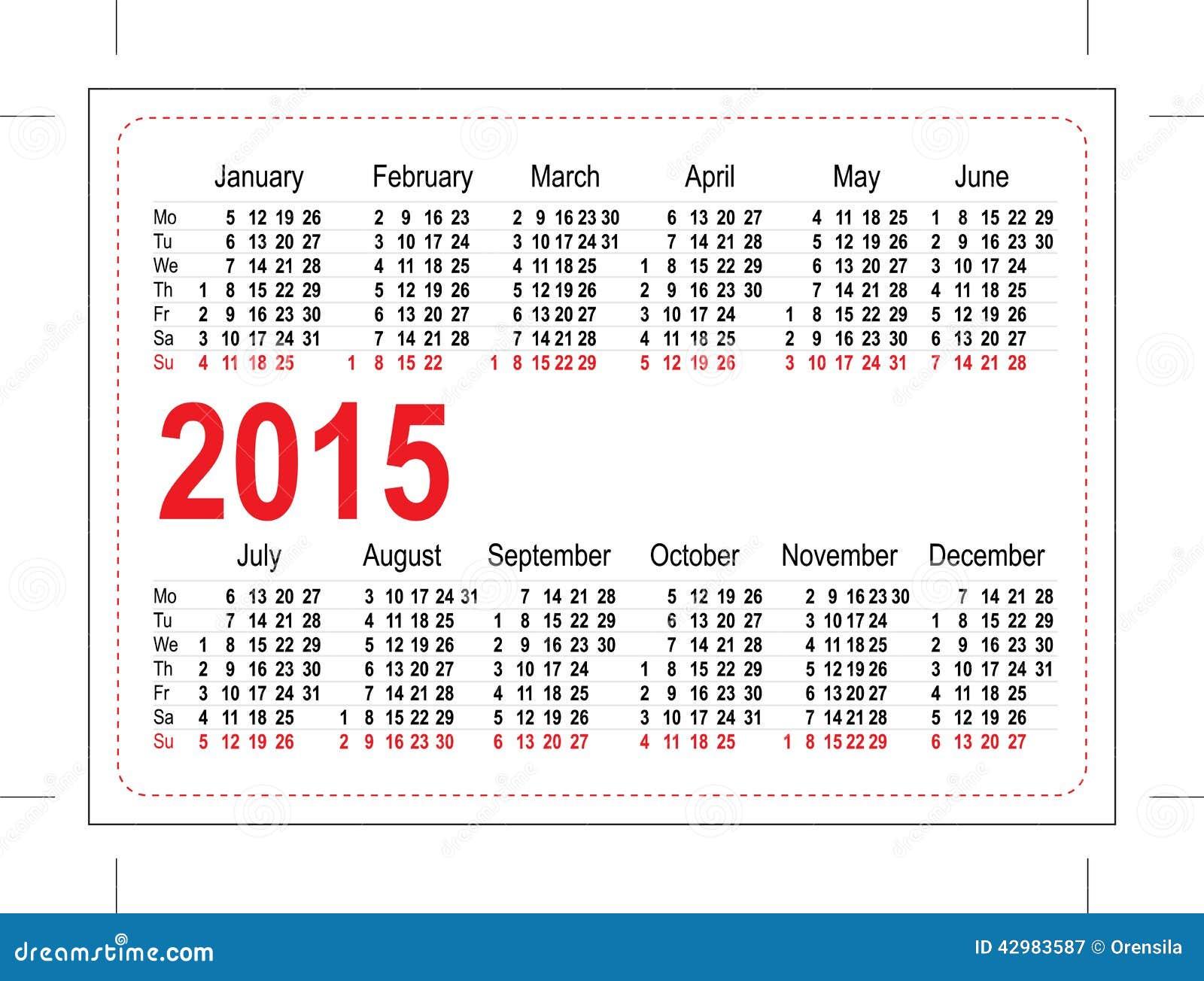 Calendario 2015 Del Bolsillo De La Plantilla Ilustración del Vector ...