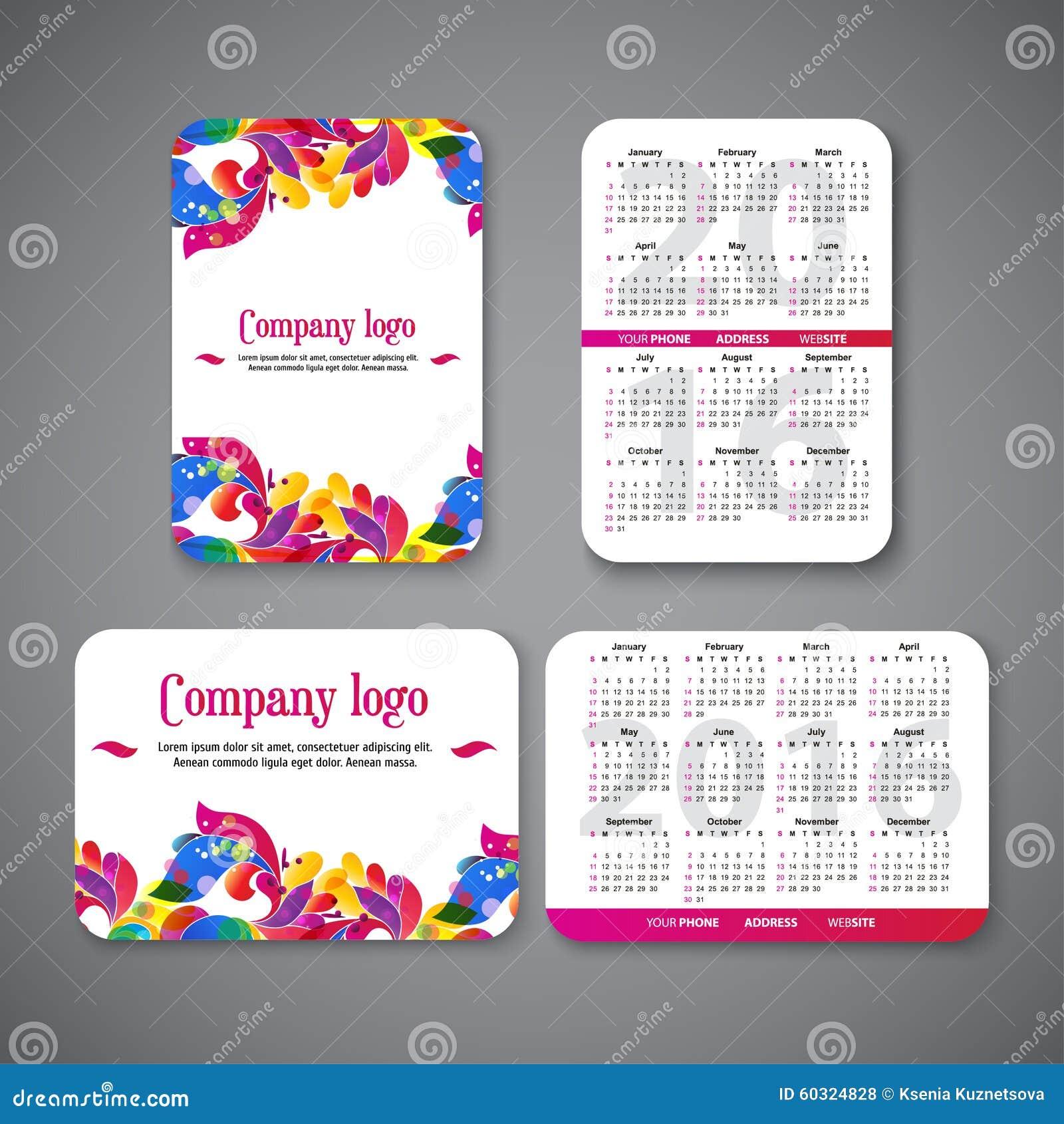 Calendario 2016 Del Bolsillo Del Diseño De La Plantilla Con Los ...