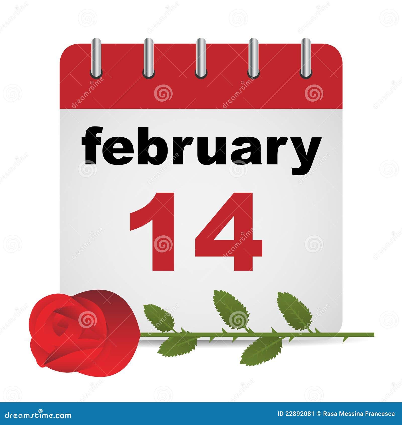 Calendario del día de tarjeta del día de San Valentín