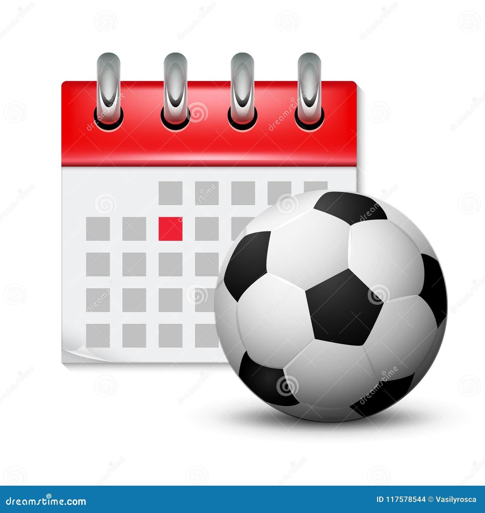 Futbol Calendario.Calendario Del Deporte Y Bola Realista Del Pie Del Futbol Evento De