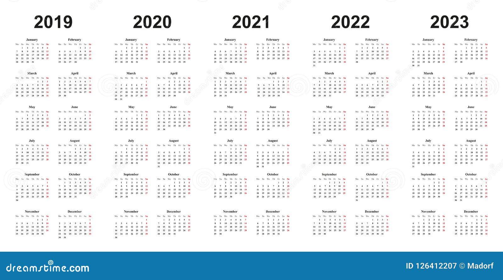 Calendario Del Diseño Simple Con Años 2019, 2020, 2021, 2022, 2023