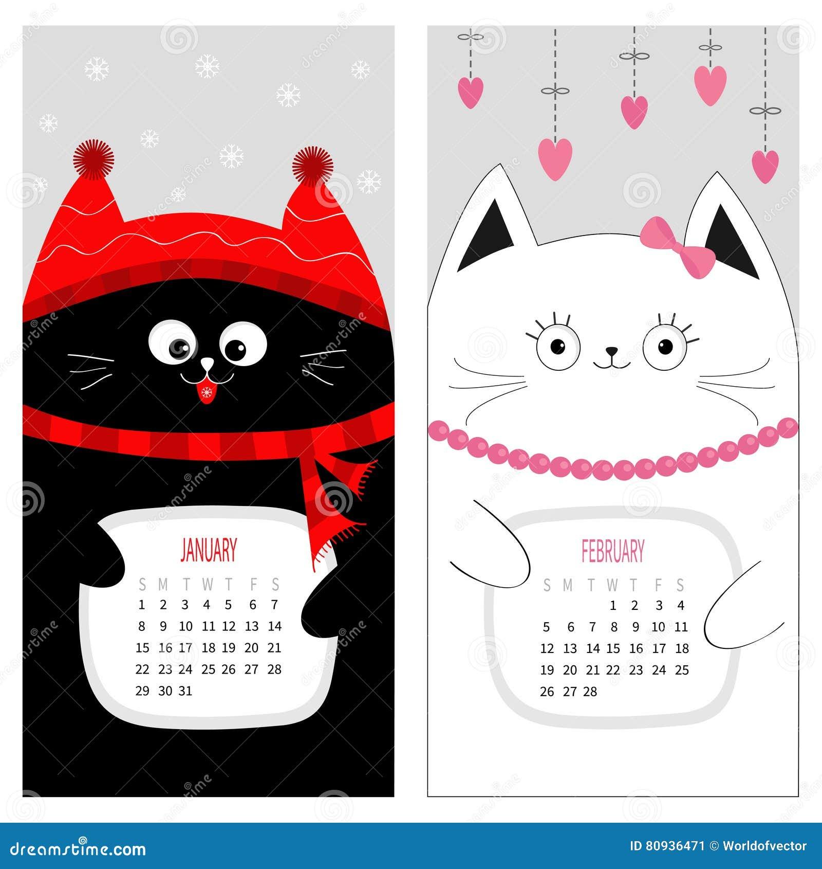 Calendario 2017 del gato juego de caracteres divertido - Mes de enero 2017 ...
