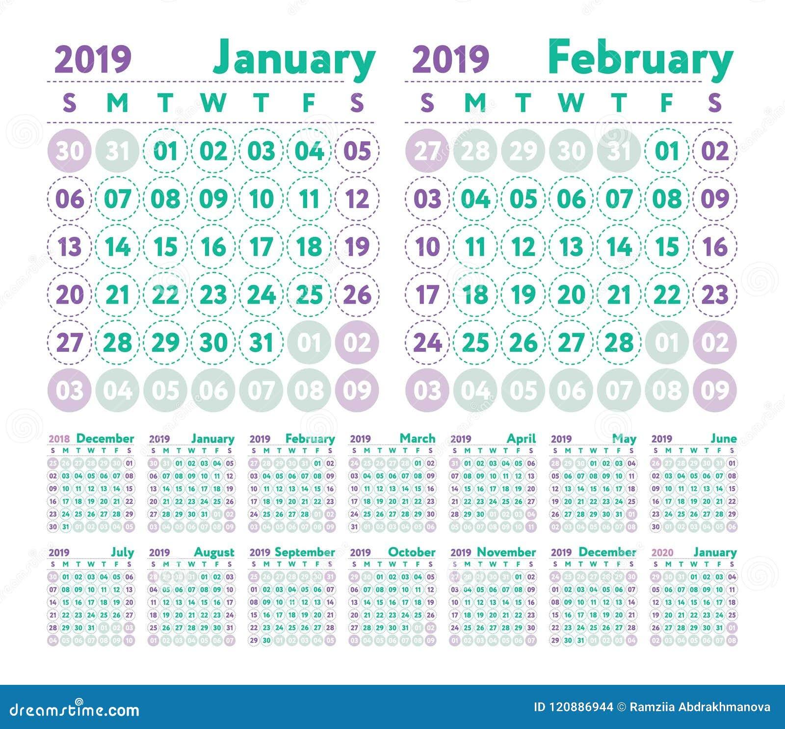 Calendario Julio Y Agosto 2020.Calendario 2019 Calendario Del Ingles Del Vector Enero