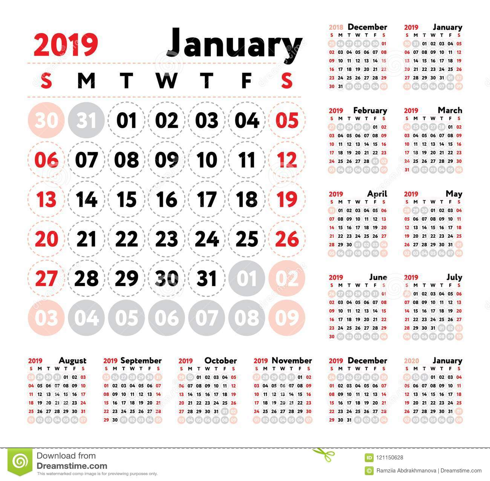 Julio Calendario 2019.Calendario 2019 Calendario Del Ingles Del Vector Enero Febrero