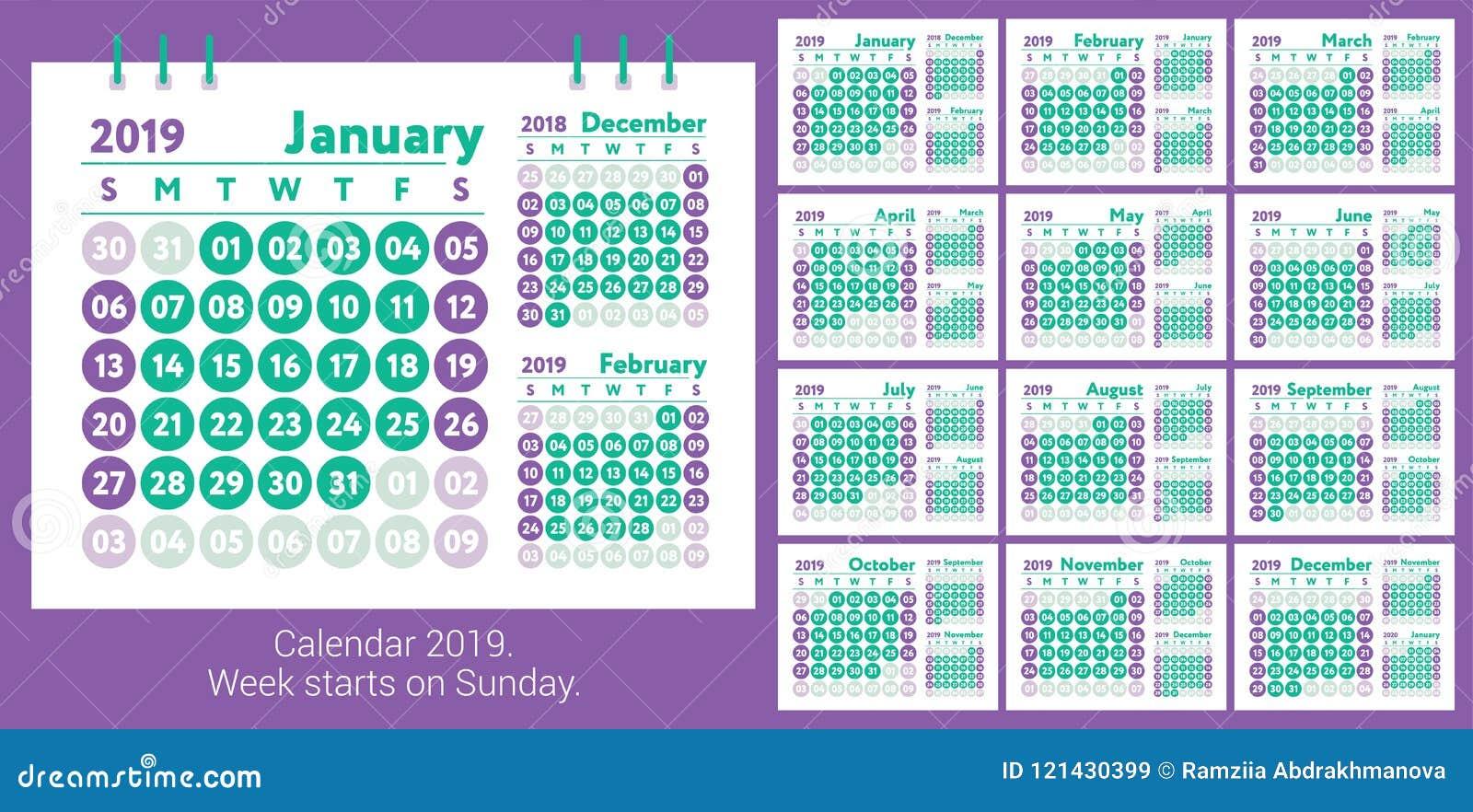 Calendario 2019 Calendario Del Inglés Del Vector Enero Febrero