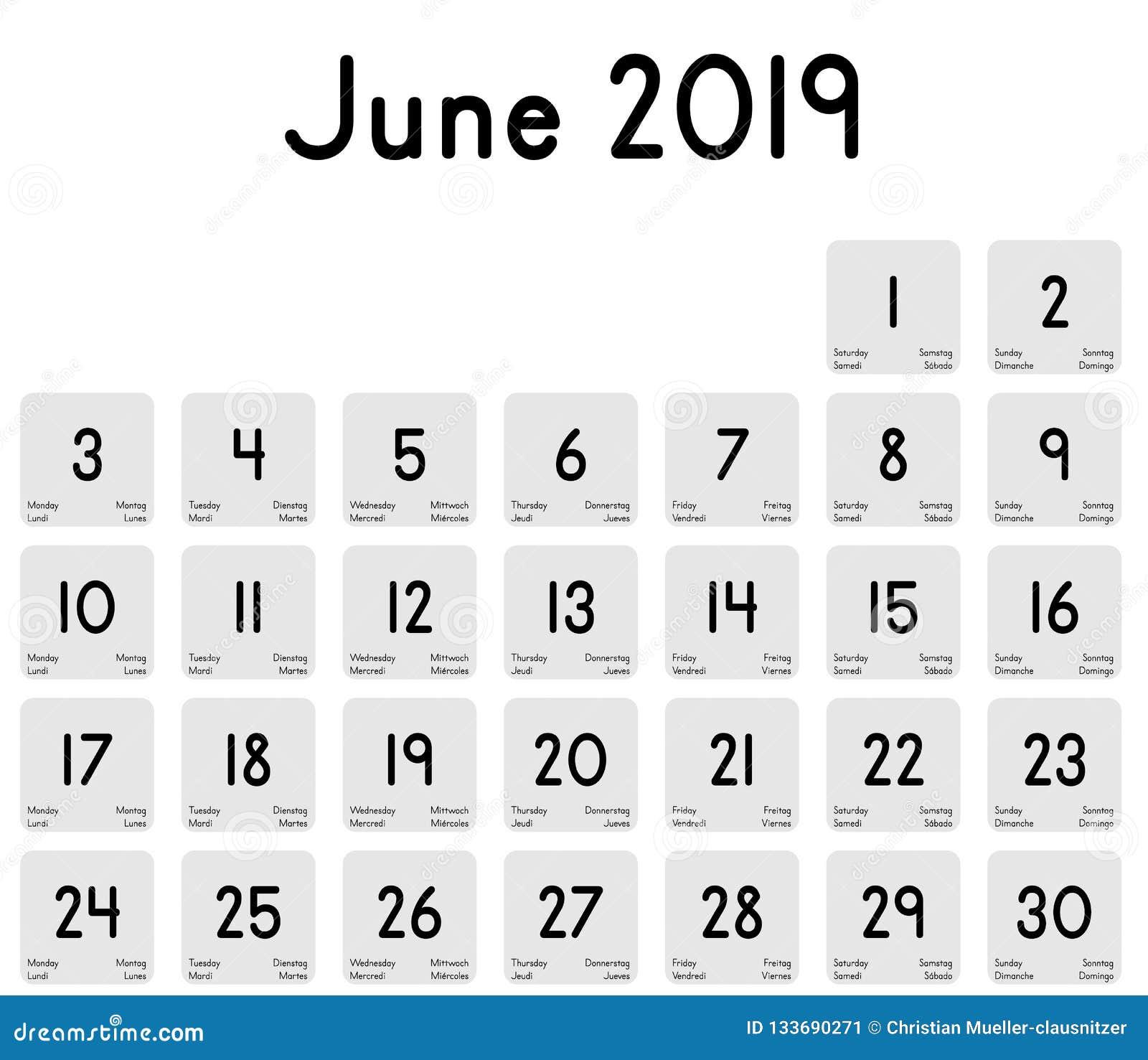Calendario Mes Junio 2019.Calendario Del Mes De Junio De 2019 Ilustracion Del Vector