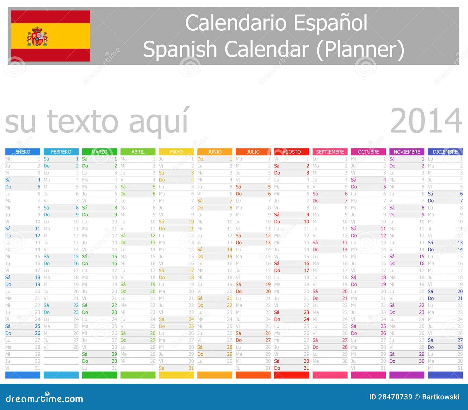 Calendario del pianificatore di 2014 spagnoli con i mesi for Pianificatore di blueprint gratuito