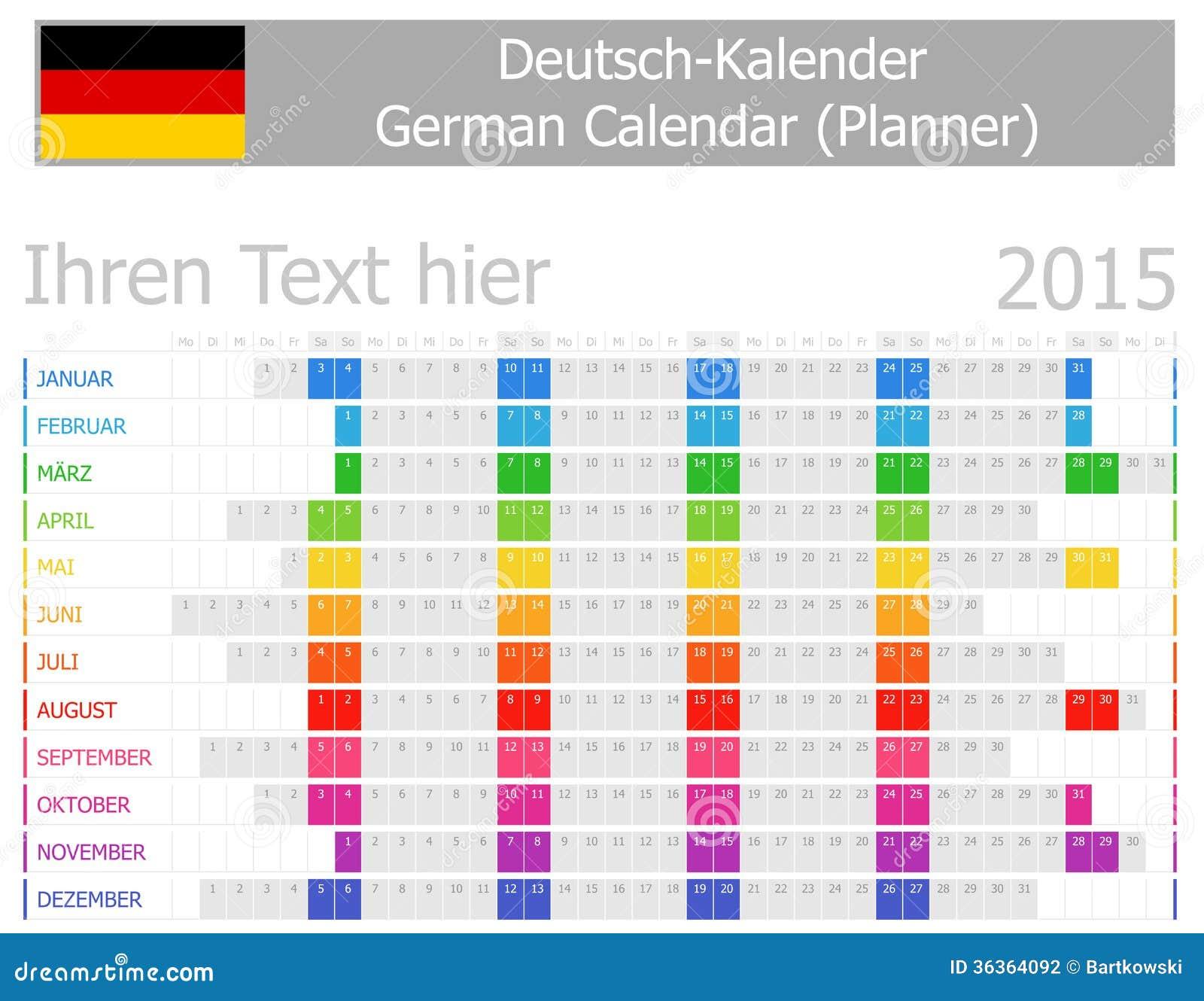 Calendario del pianificatore di 2015 tedeschi con i mesi for Capannone pianificatore di layout