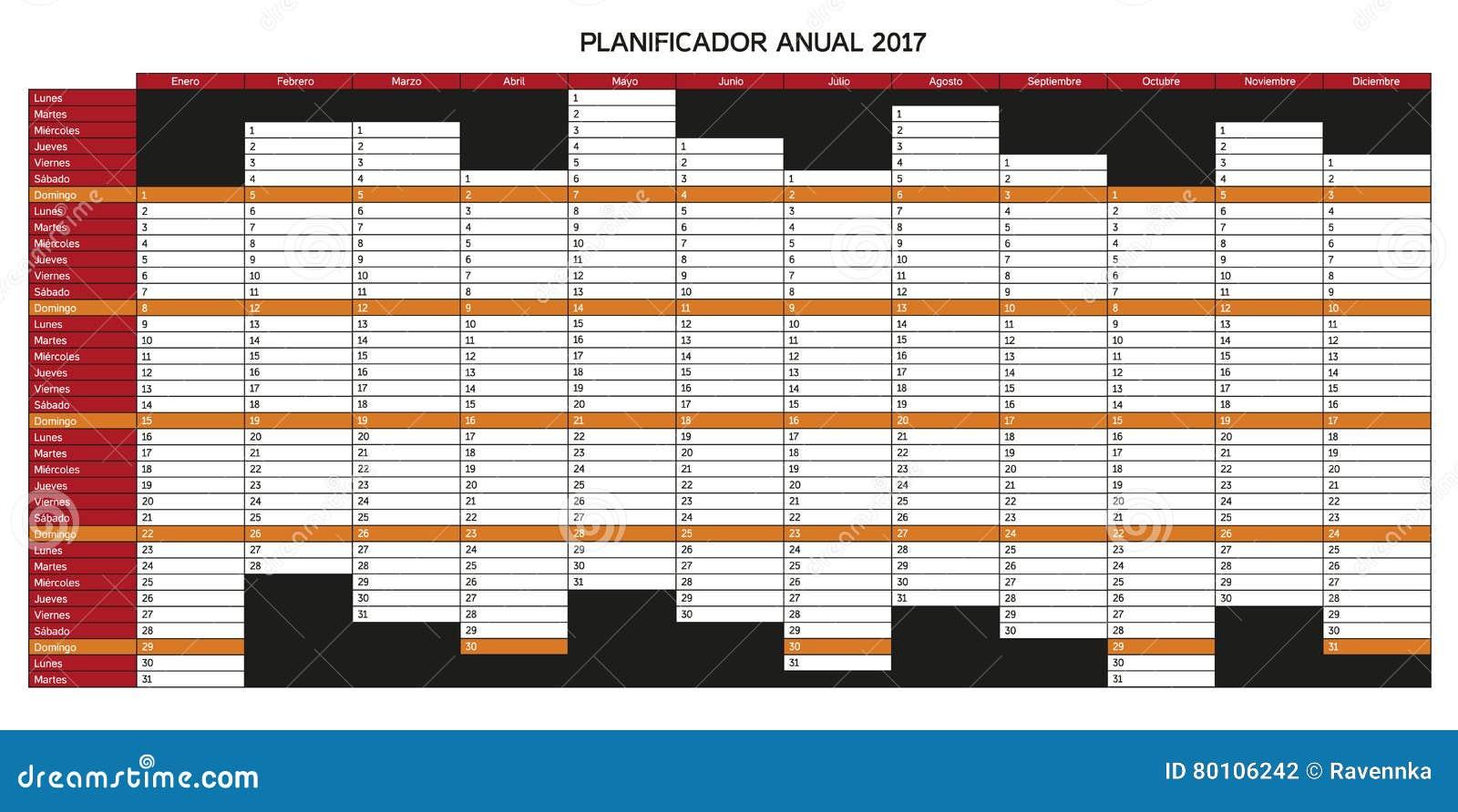 calendario del planeamiento del año para 2017 en español
