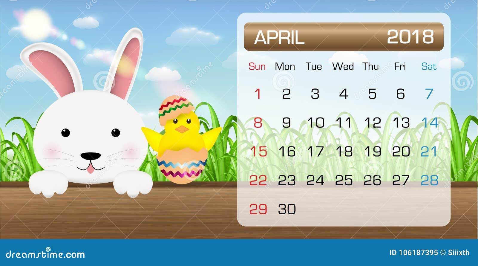 Calendario Cattolico.Calendario Del Pulcino Pasqua Del Coniglietto Di Mese Dell
