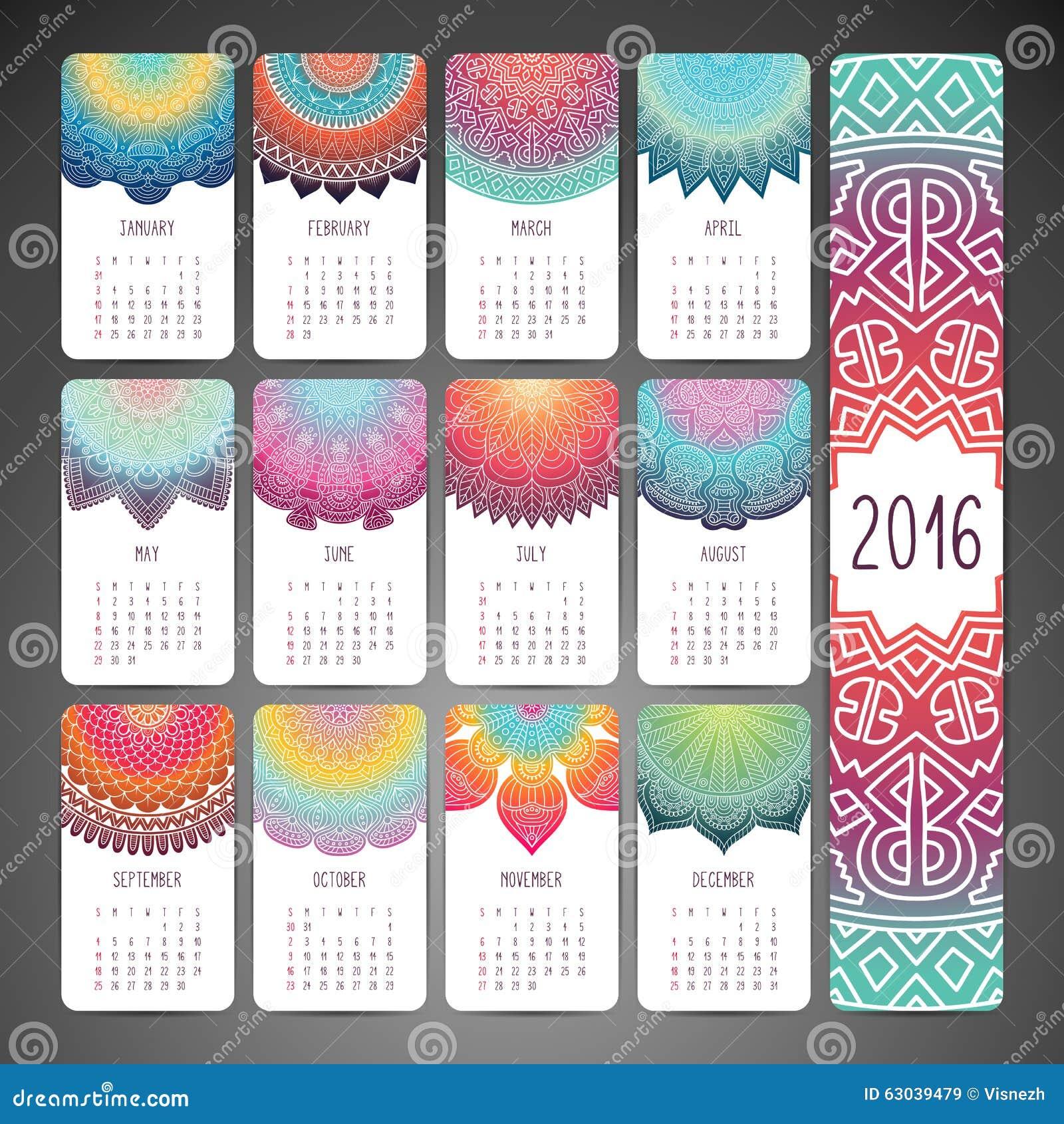 Calendario 2016 del vector ilustraci n del vector imagen for Decorado 2016
