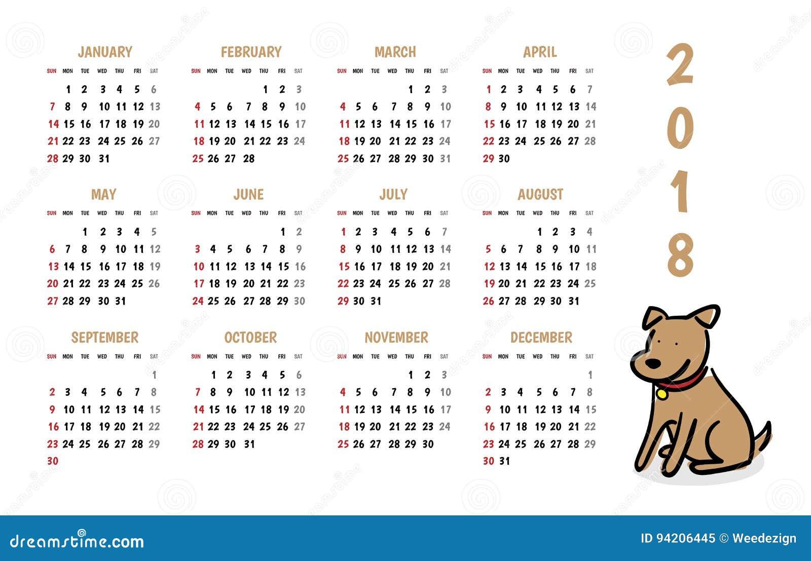 Calendario del vector del Año Nuevo de 2018 perros con estilo lindo de la historieta del garabato