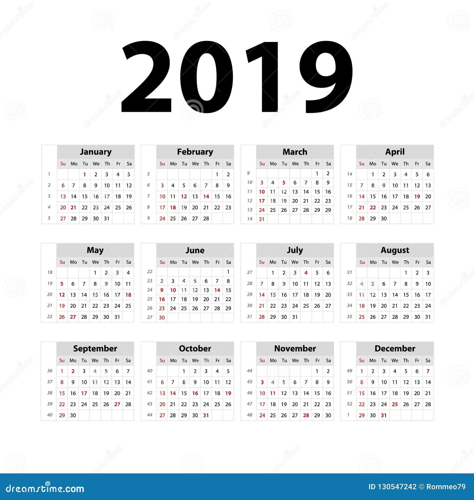 Semana Calendario.Calendario 2019 Del Vector Gris Comienzo De La Semana El Domingo